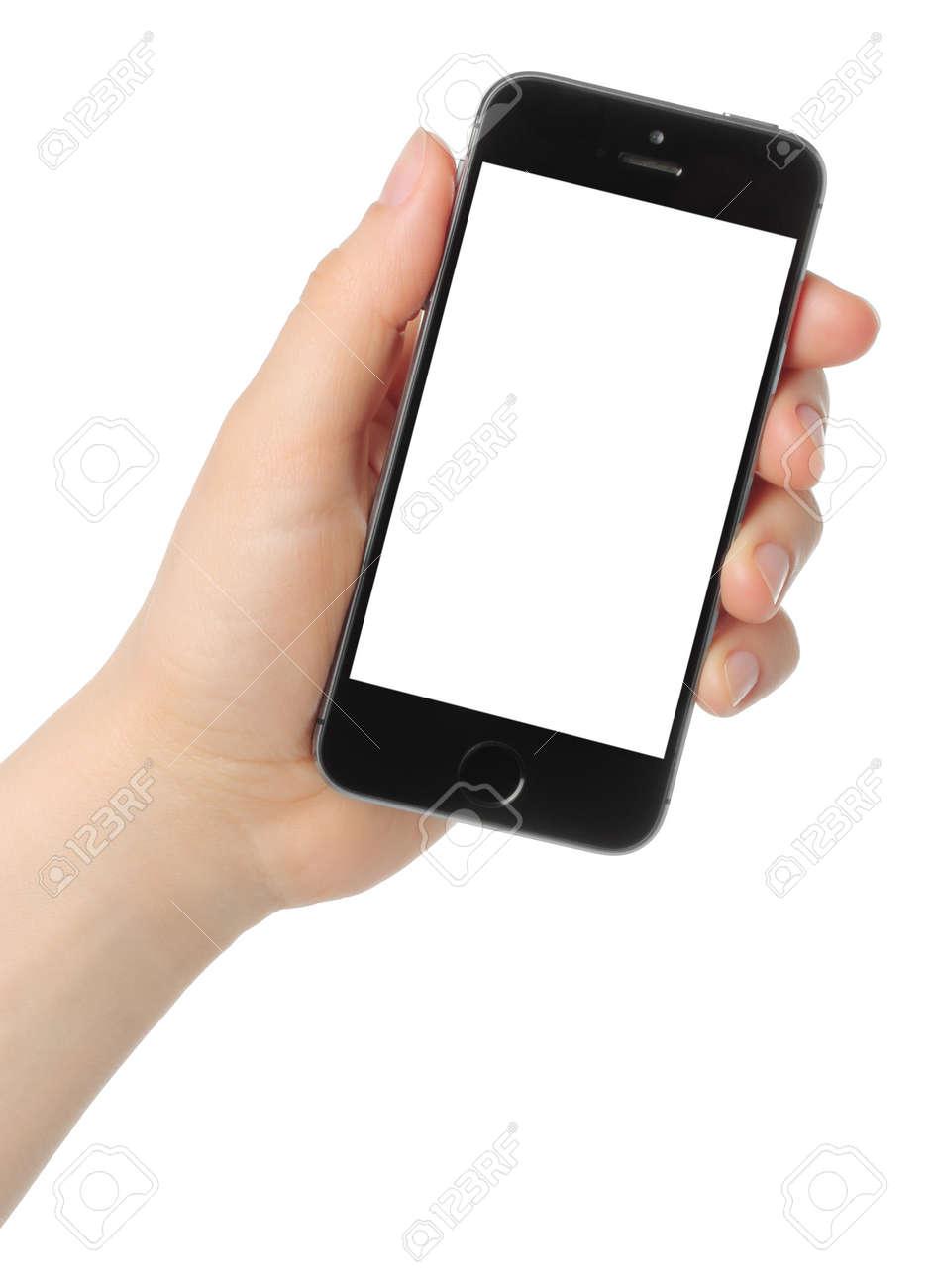 Immagini Stock Kiev Ucraina 7 Marzo 2015 La Mano Tiene Iphone
