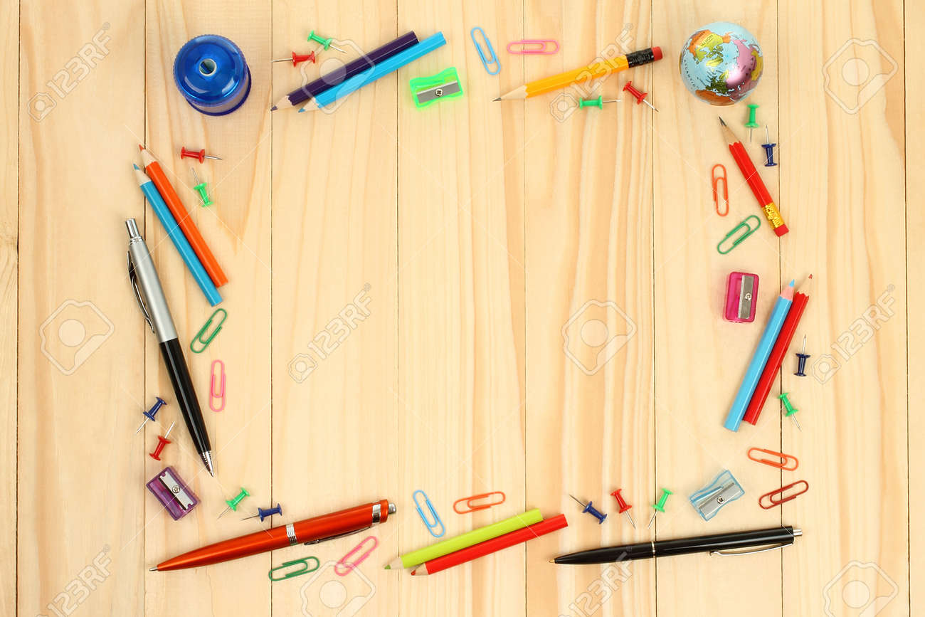 School Office Supplies On Wooden Background Stock Photo, Picture ...