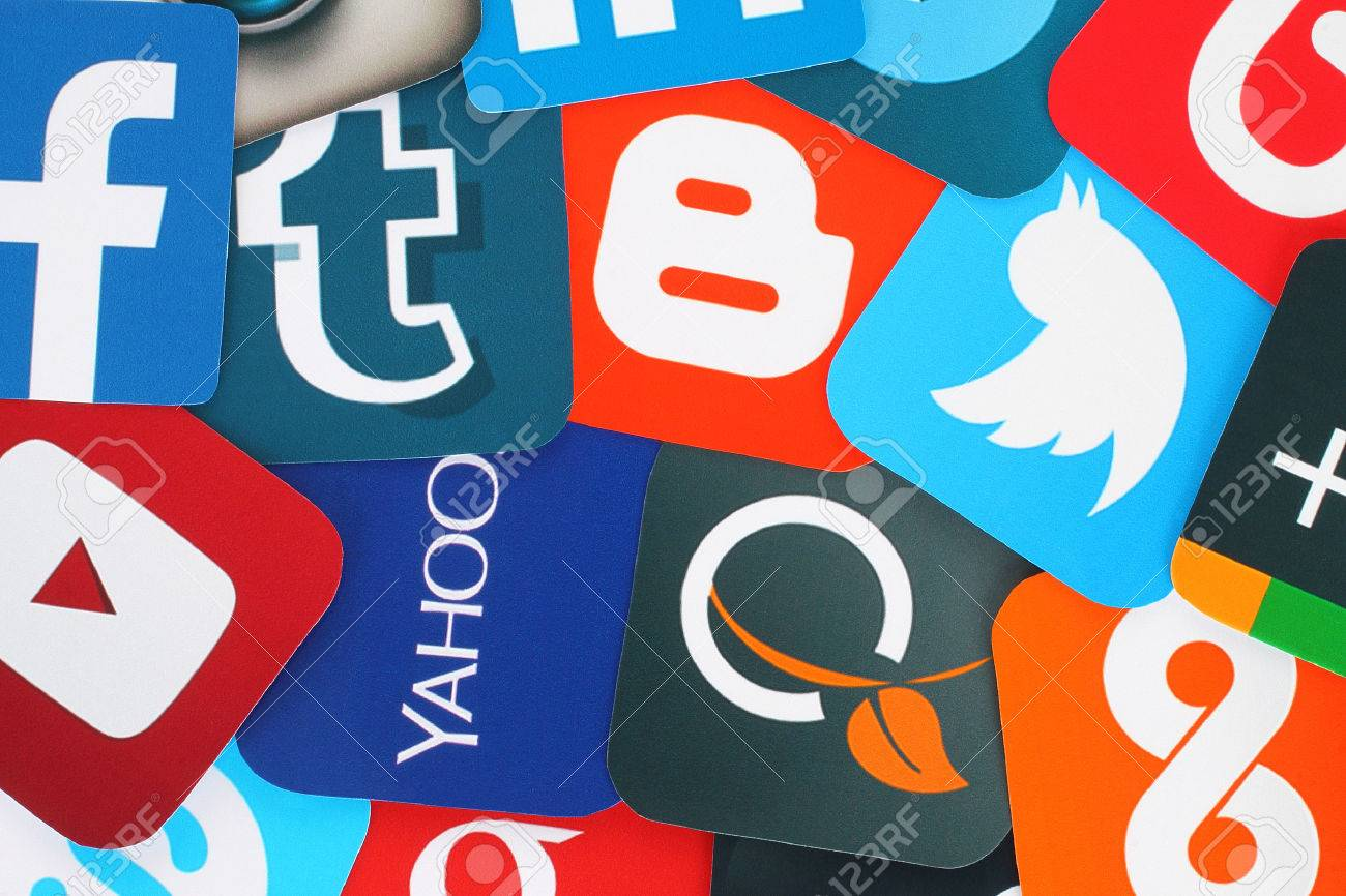 Kiev, Ukraine - July 01, 2015: Background of famous social media icons such as: Facebook, Twitter, Blogger, Linkedin, Tumblr, Myspace and others, printed on paper. - 50730345