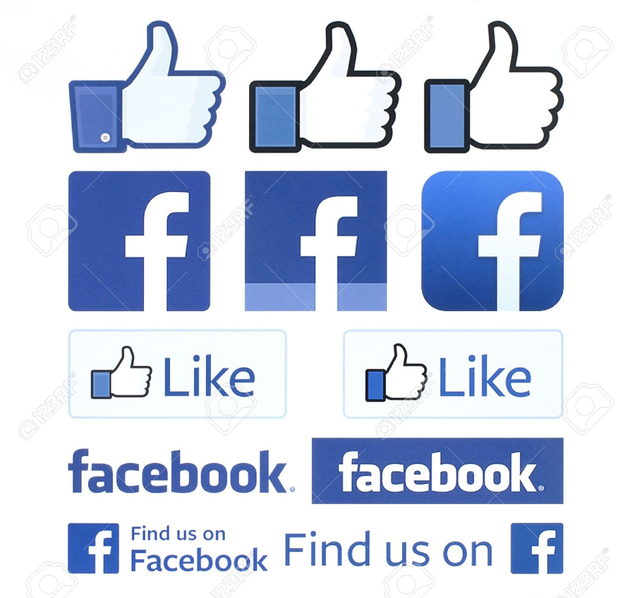 Kiev, Ukraine - February 4, 2016: Facebook logos and thumbs up printed on white paper. Facebook is a well-known social networking service. - 52114531