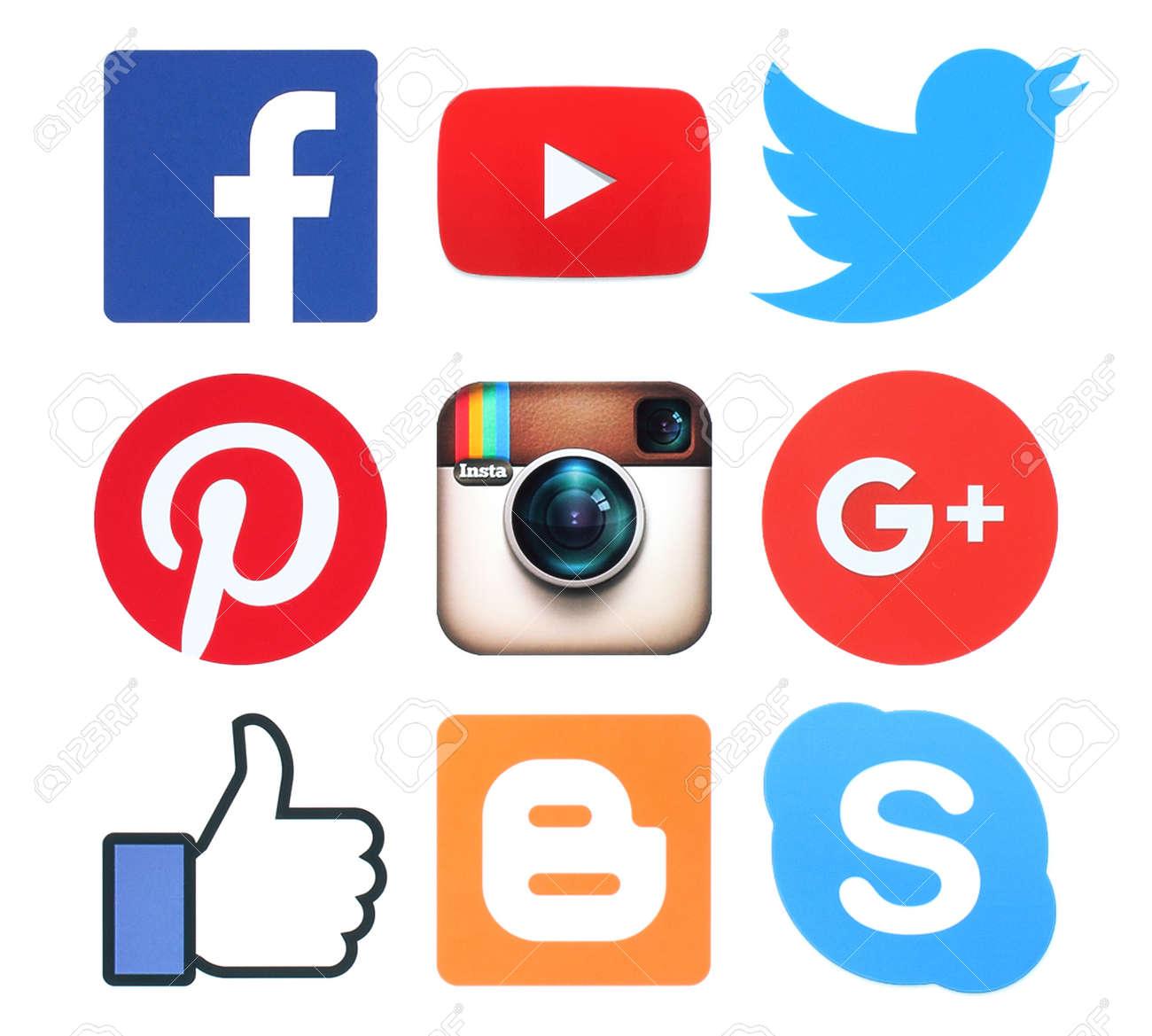 Kiev, Ukraine - February 8, 2016:Collection of popular social media logo signs printed on paper:Facebook, Twitter, Google Plus, Instagram, Pinterest, Skype, YouTube and Blogger - 52114532
