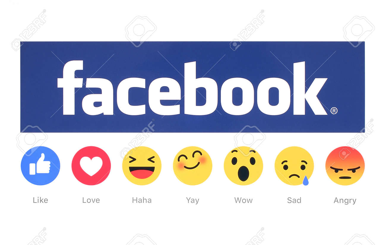 Kiev, Ukraine - February 26, 2016: New Facebook like button 6 Empathetic Emoji Reactions printed on white paper. Facebook is a well-known social networking service. - 53643256