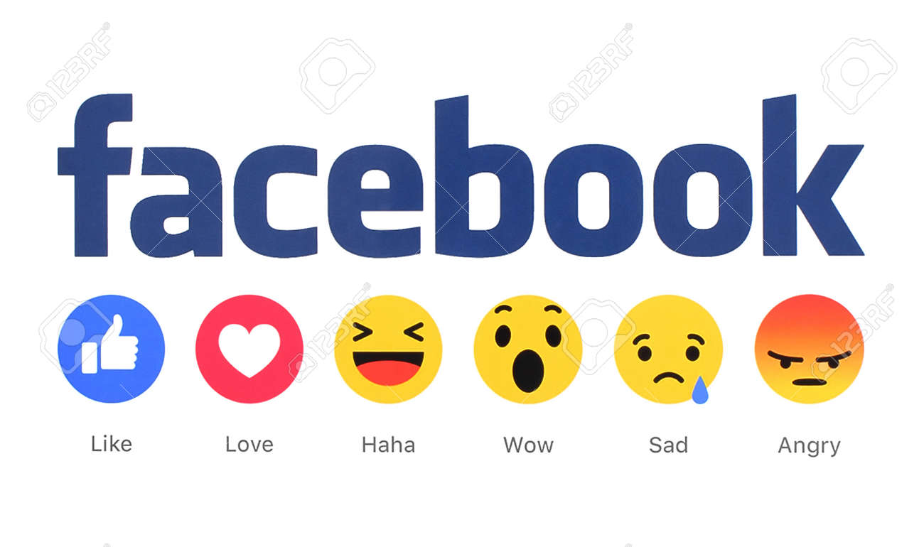 Kiev, Ukraine - March 2, 2016: New Facebook like button 6 Empathetic Emoji Reactions printed on white paper. Facebook is a well-known social networking service. - 53643262