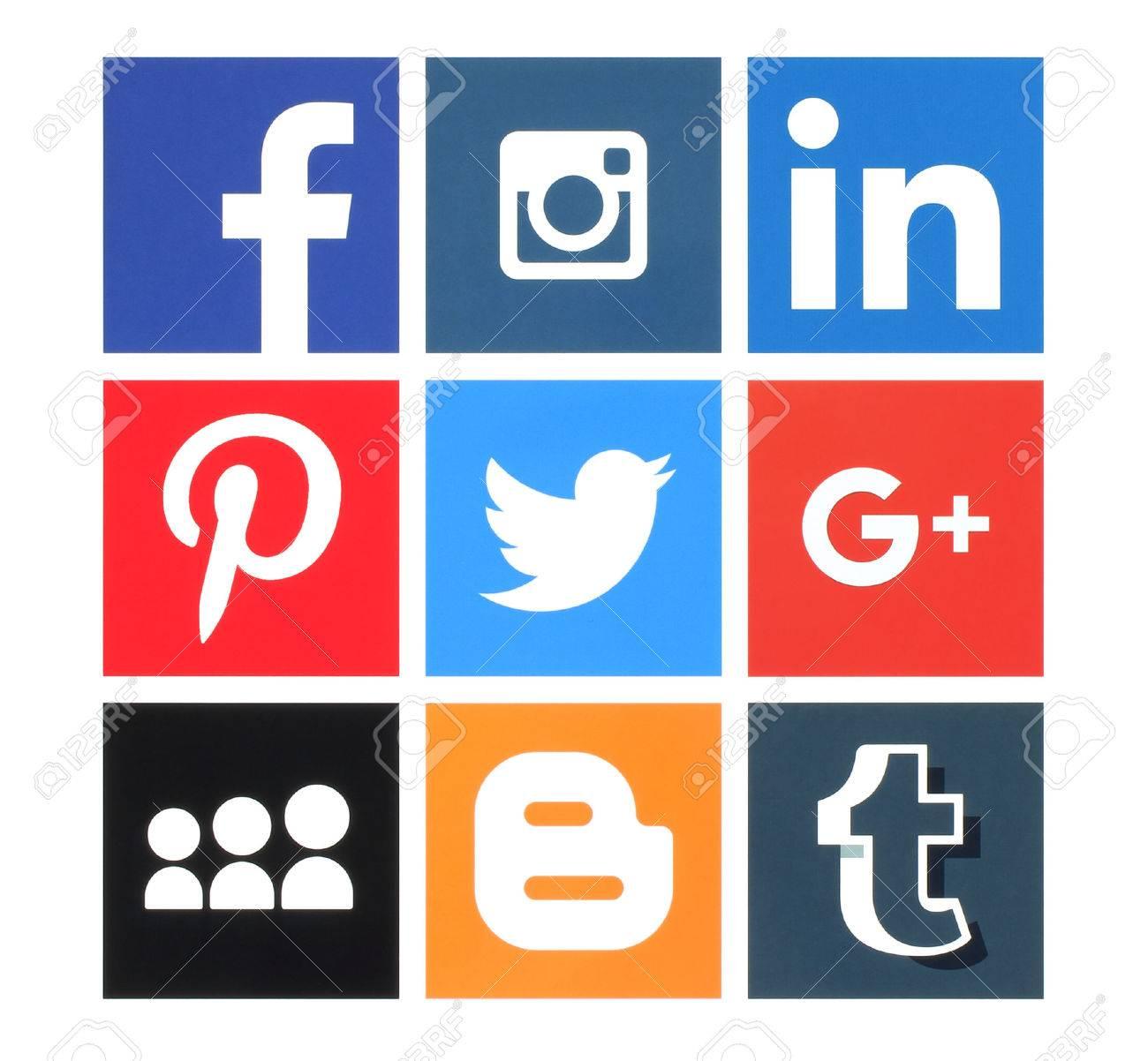 Kiev, Ukraine - March 8, 2016: Collection of popular social media logos printed on paper:Facebook, Twitter, Google Plus, Instagram, MySpace, LinkedIn, Pinterest, Tumblr and Blogger - 53643264