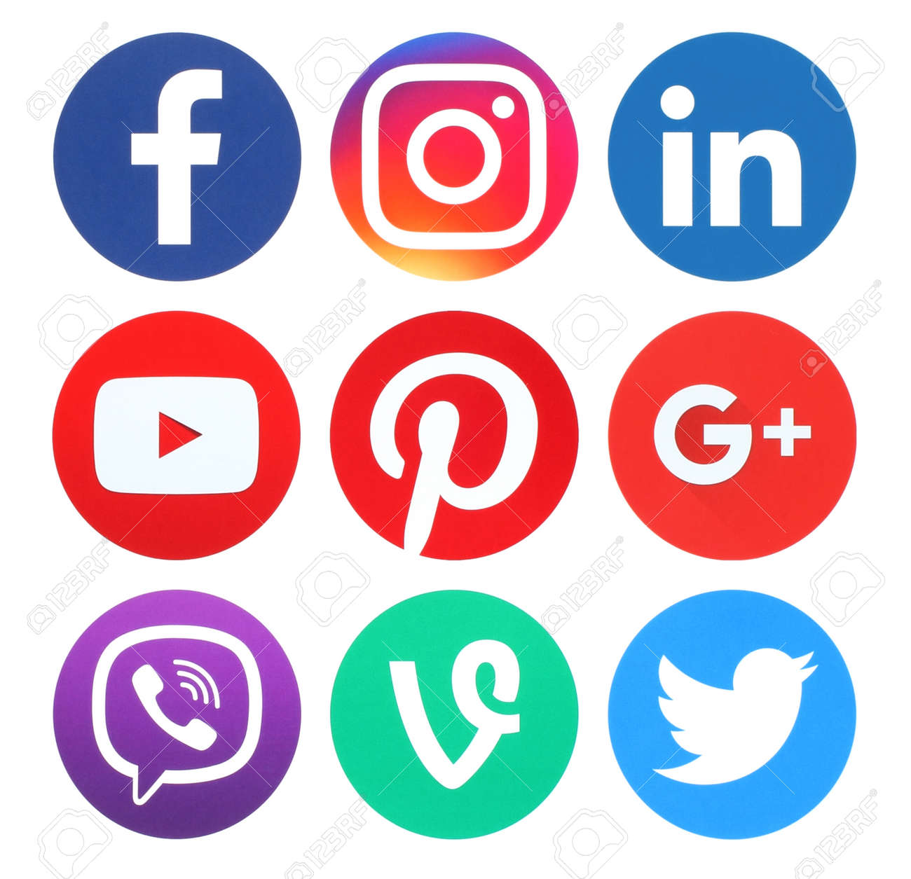 Kiev, Ukraine - May 26, 2016: Collection of popular round social media logos printed on paper:Facebook, Twitter, Google Plus, Instagram, LinkedIn, Pinterest, Vine, Youtube and Viber - 58497427