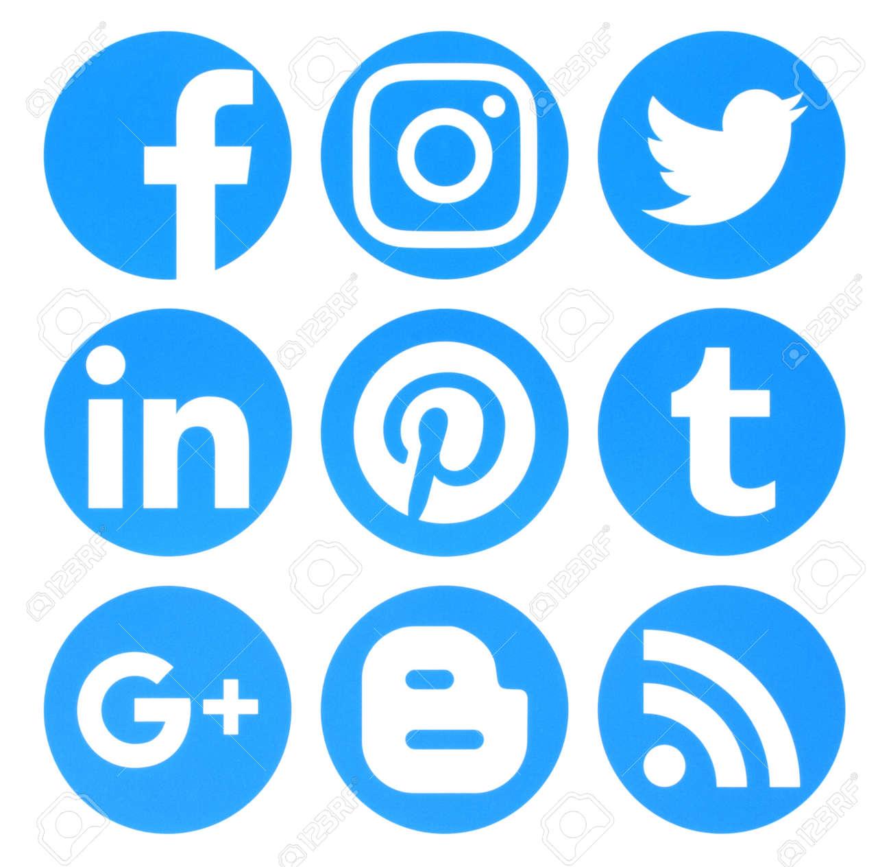 Kiev, Ukraine - August 22, 2016: Collection of popular circle blue social media logos printed on paper:Facebook, Twitter, Google Plus, Instagram, Pinterest, LinkedIn, Blogger, Tumblr and RSS - 62014208