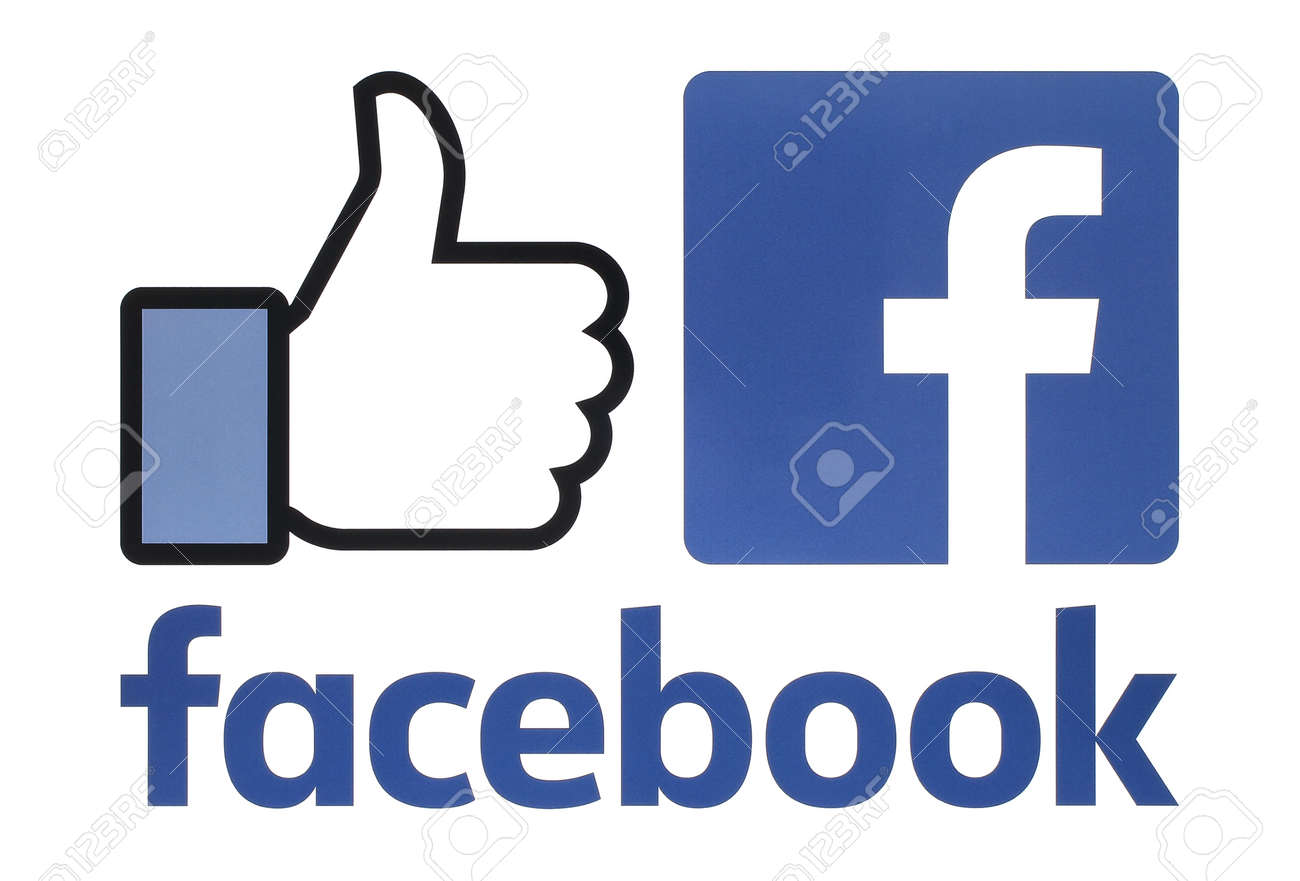 Kiev, Ukraine - August 23, 2016: Collection of a new Facebook logos printed on white paper. Facebook is a well-known social networking service - 62014169