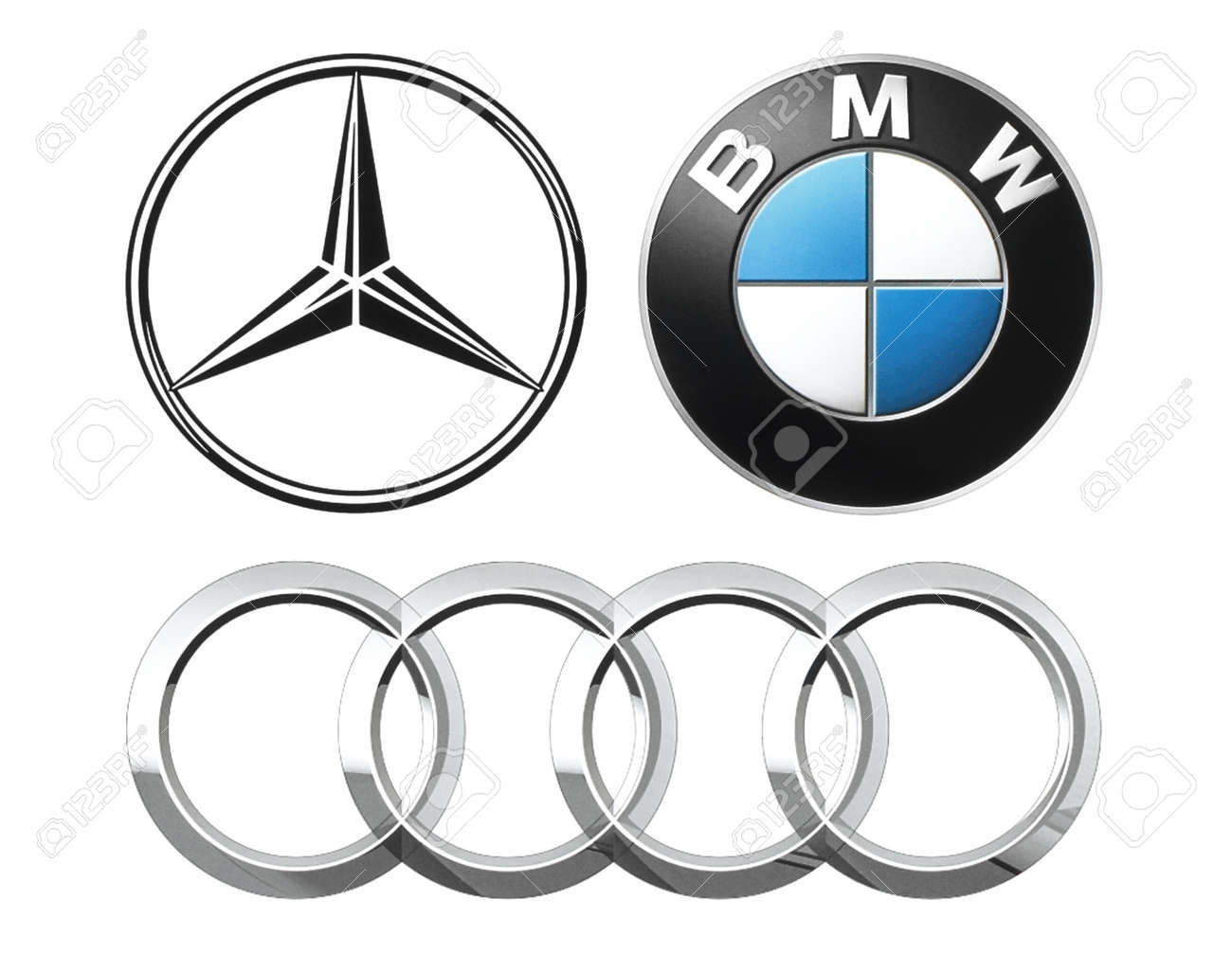 Kiev, Ukraine - September 12, 2016: Collection of popular German car logos printed on white paper: Mercedes, BMW and Audi - 63408128