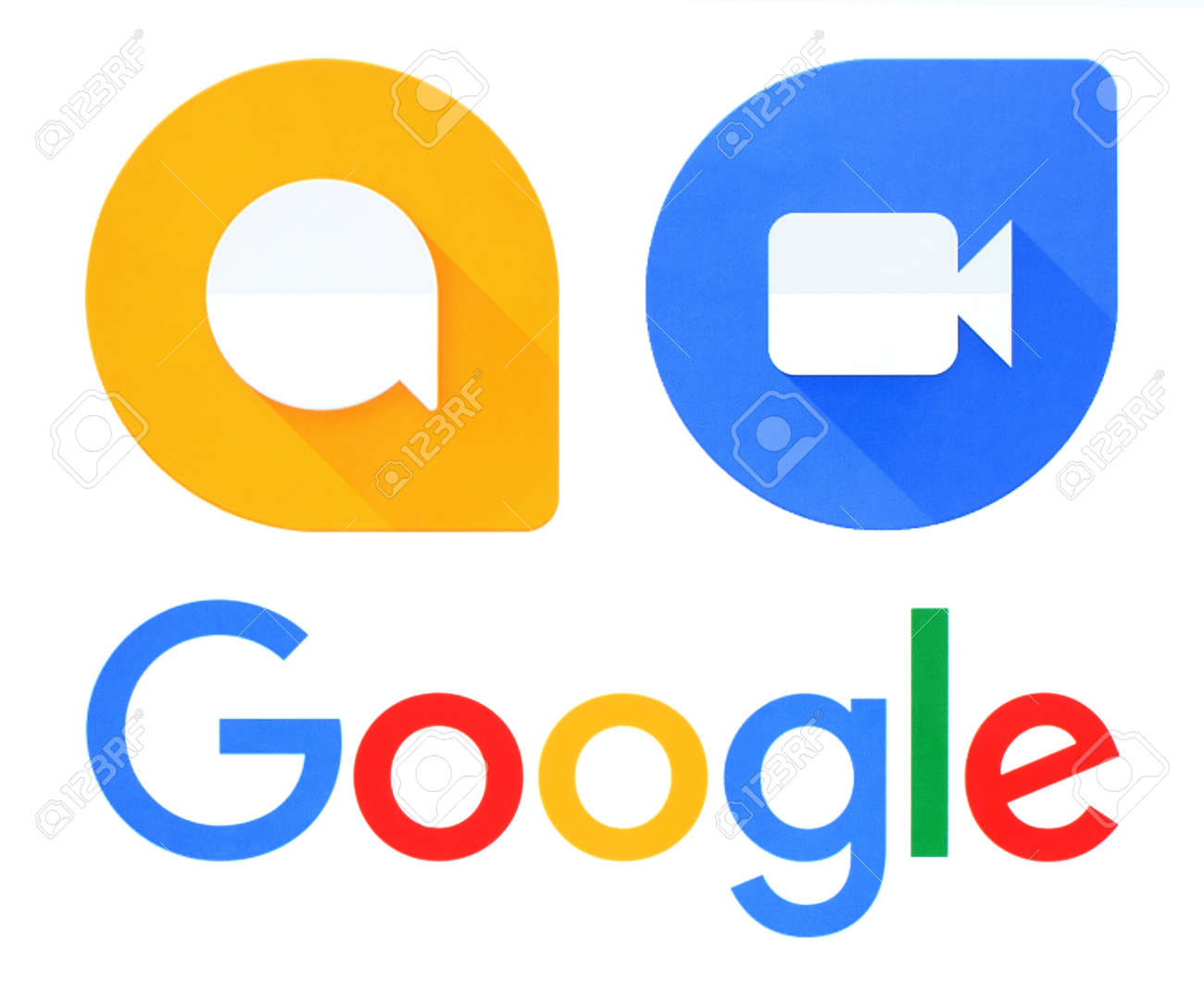Kiev, Ukraine - September 21, 2016: Google, Allo and Duo logos