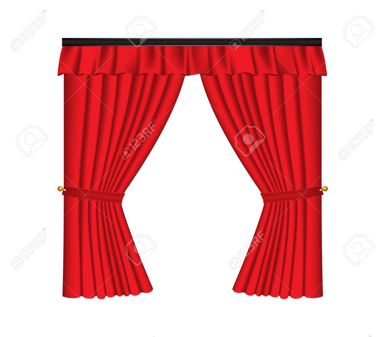 red luxe gordijnen en draperien op een witte achtergrond realistische vector illustratie stockfoto 72988258