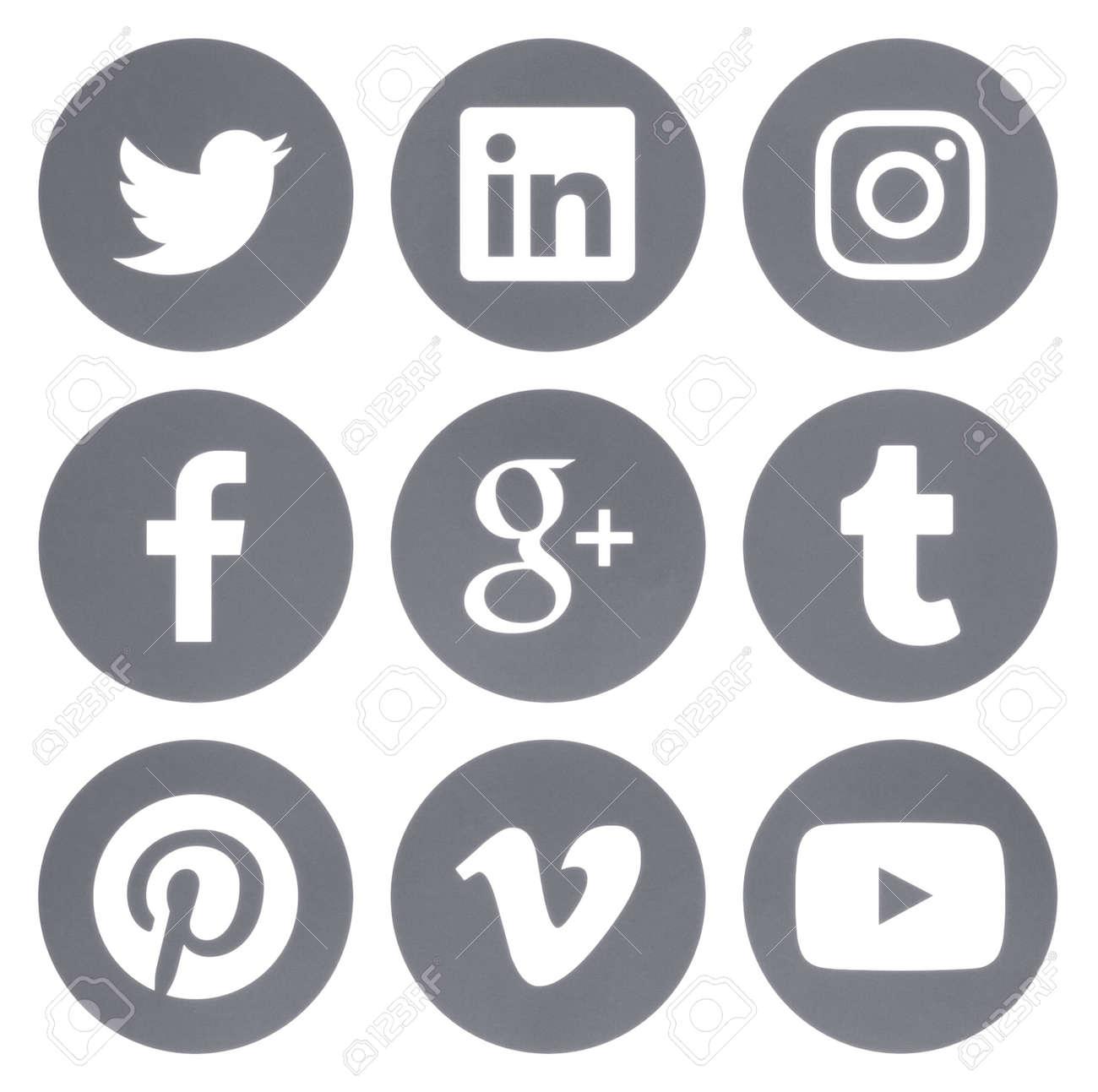 Kiev, Ukraine - Febraury 28, 2017: Collection of round popular social media gray logos printed on paper: Facebook, Twitter, Google Plus, Instagram, Pinterest, LinkedIn, Vimeo, Tumblr and Youtube - 74932833