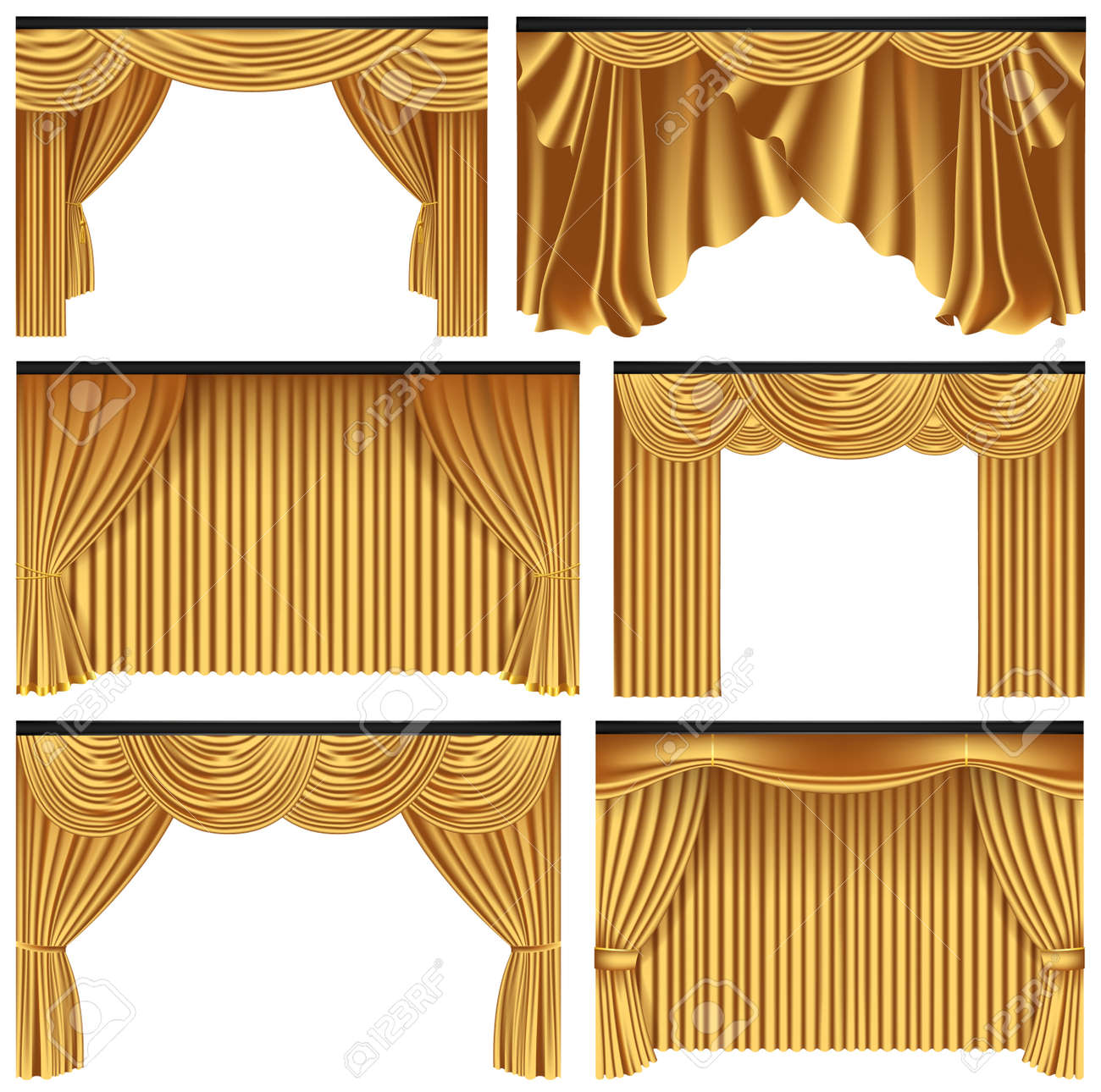 Set Of Gold Luxury Curtains And Draperies On White Background Royalty Free Cliparts Vectors And Stock Illustration Image 79878182