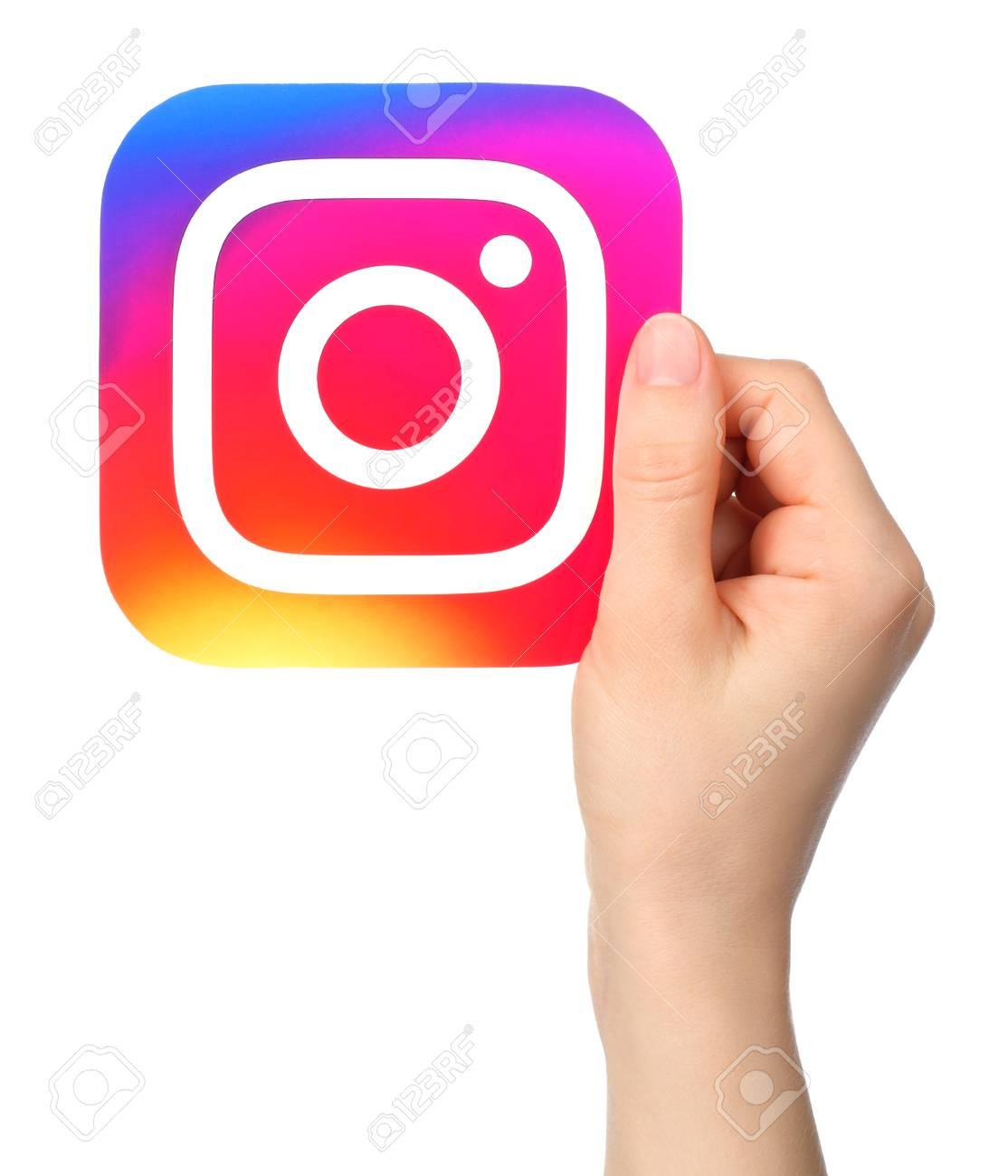 Kiev Ukraine January 20 2017 Hands Holds Instagram Icon Stock