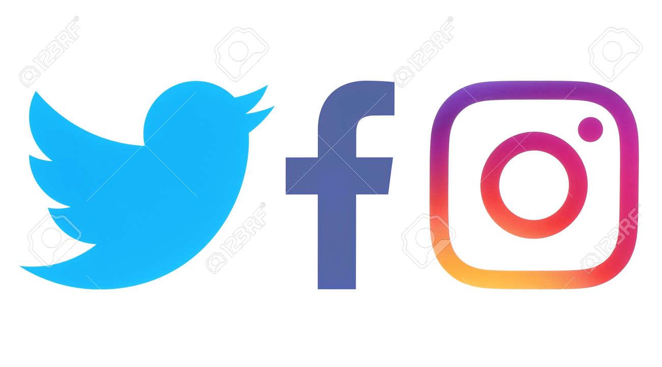 Kiev Ukraine Octobre 06 2017 Logos Facebook Twitter Et