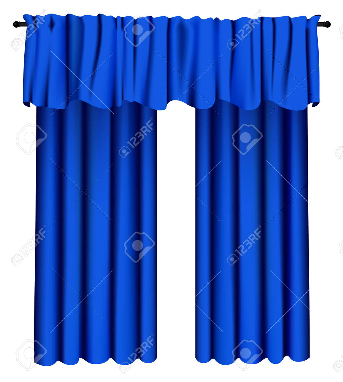 Blue Luxury Curtains And Draperies On White Background Realistic