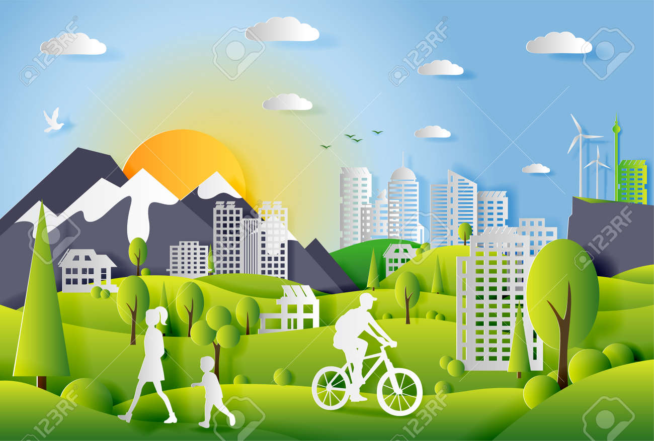 Concept of ecology city with technologies of future and urban innovations, paper cut design vector illustration - 123042451