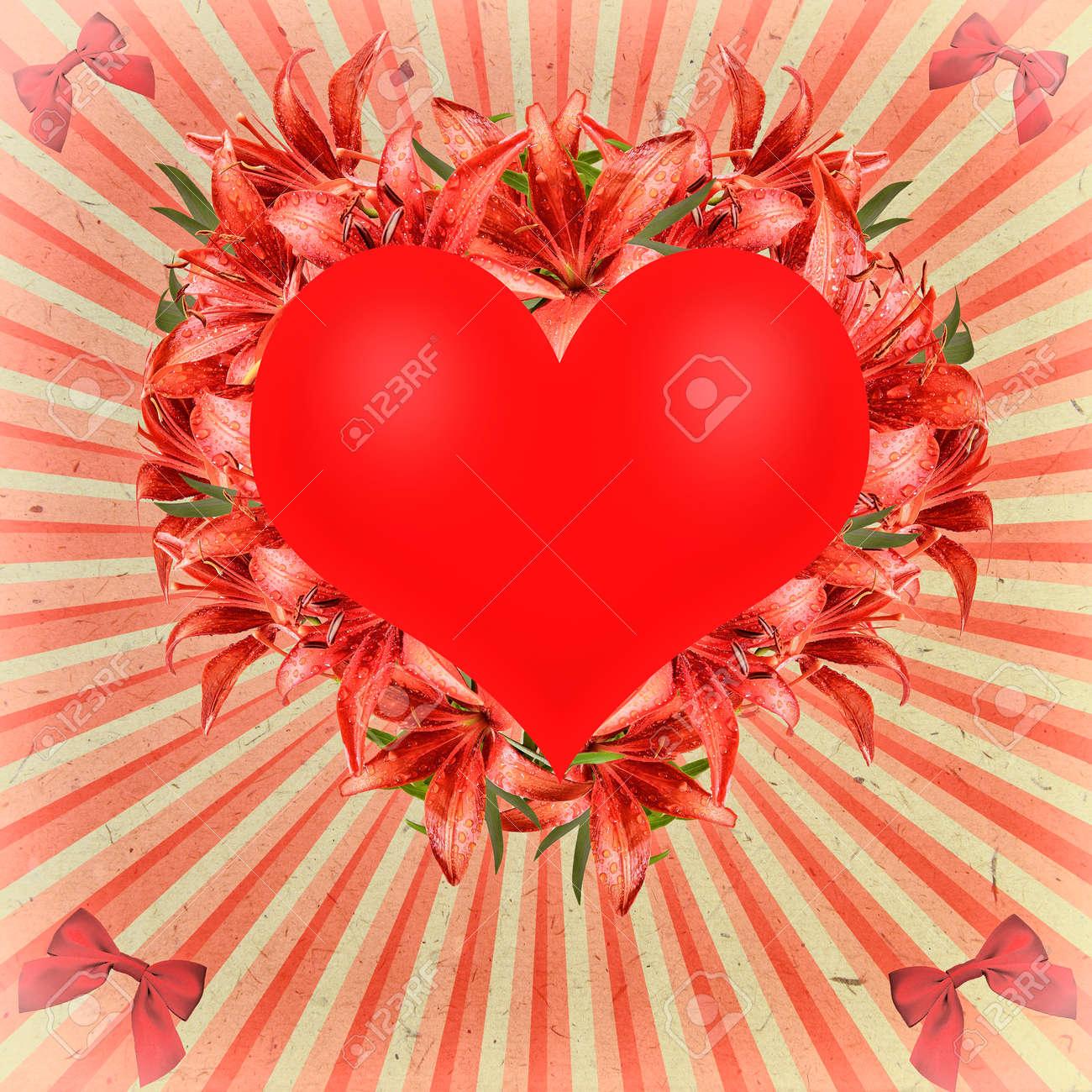 Vintage-Grußkarte Zum Valentinstag Mit Herzen Verziert, Floralen ...