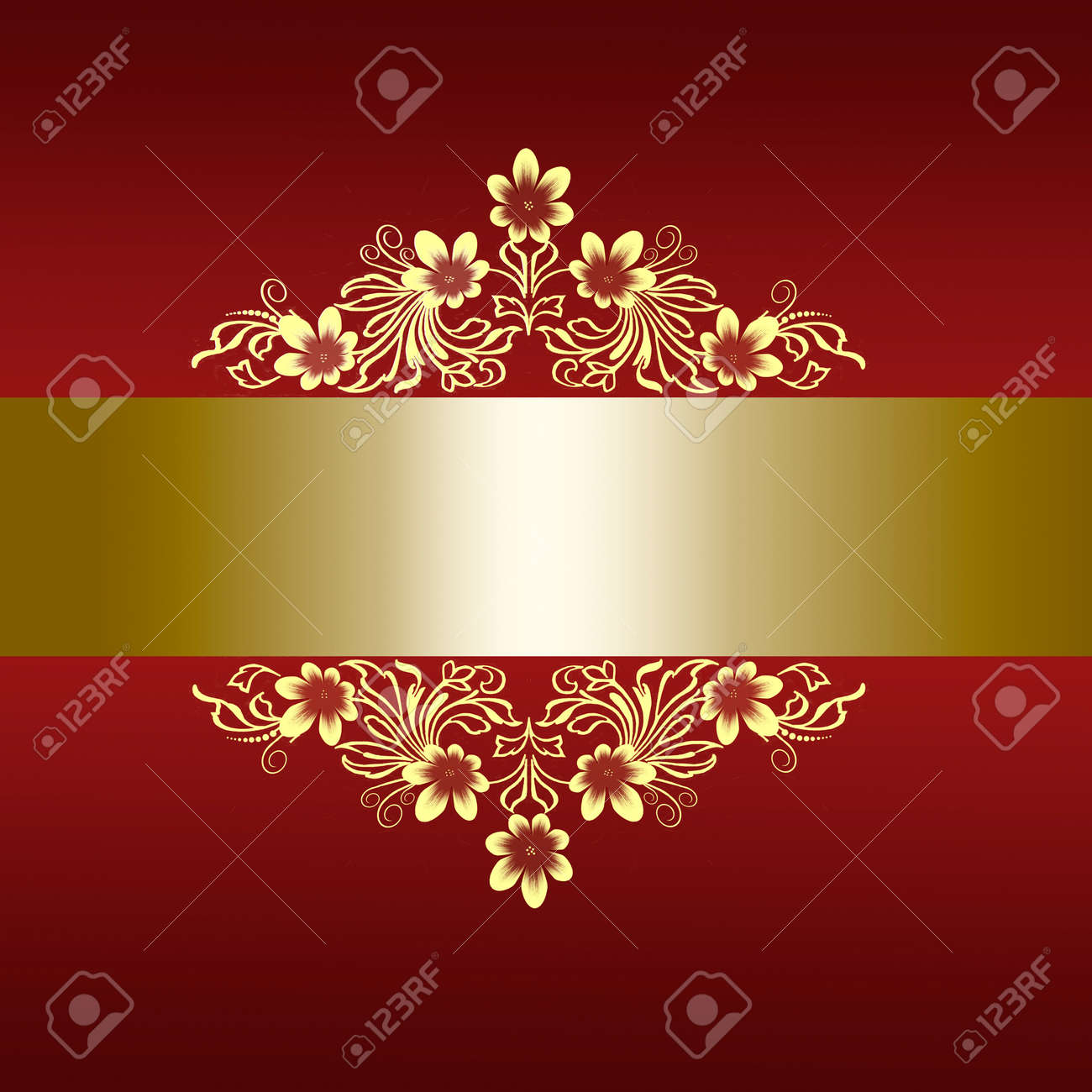 Elegant Red Border With Golden Floral Ornament For Wedding ...