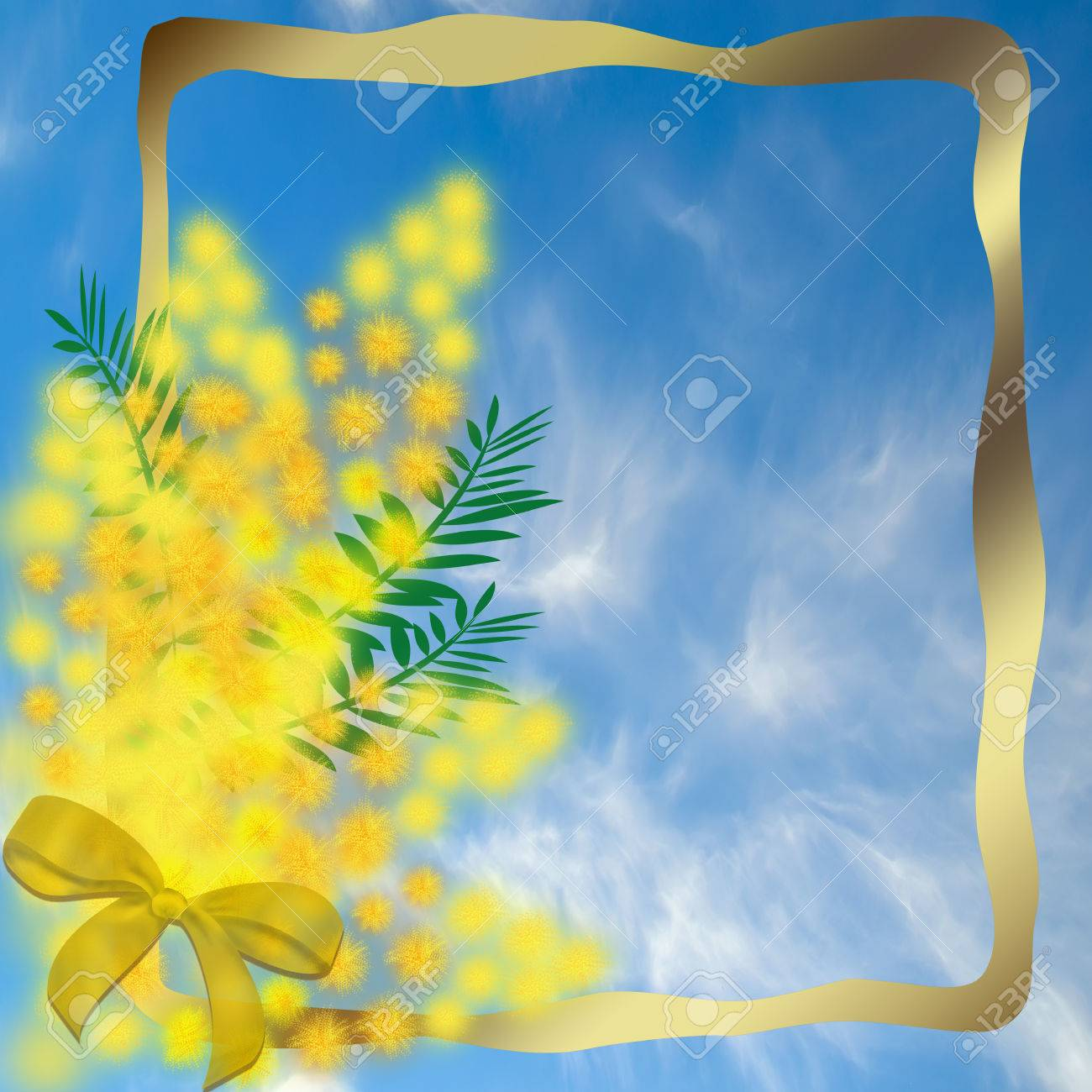 Golden Frame With A Bouquet Of Mimosa Flowers And Bow On A Blue Background  Of Spring