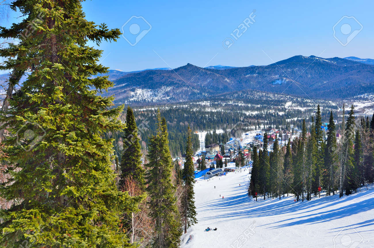 sunny spring day in the mountain ski resort sheregesh, western