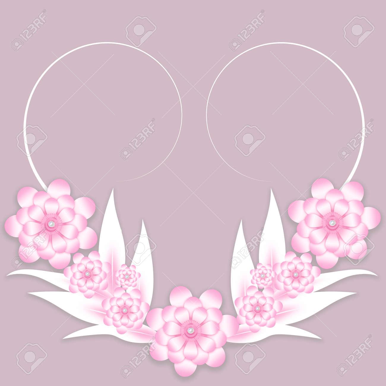 Fondo De Flores De Papel Rosa Y Blanco Para Invitación De Boda O Plantilla De Tarjeta De Felicitación A Las Mujeres Madres Día De San Valentín