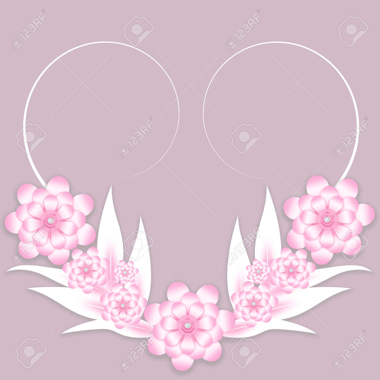 Pink And White Paper Flowers Background For Wedding Invitation