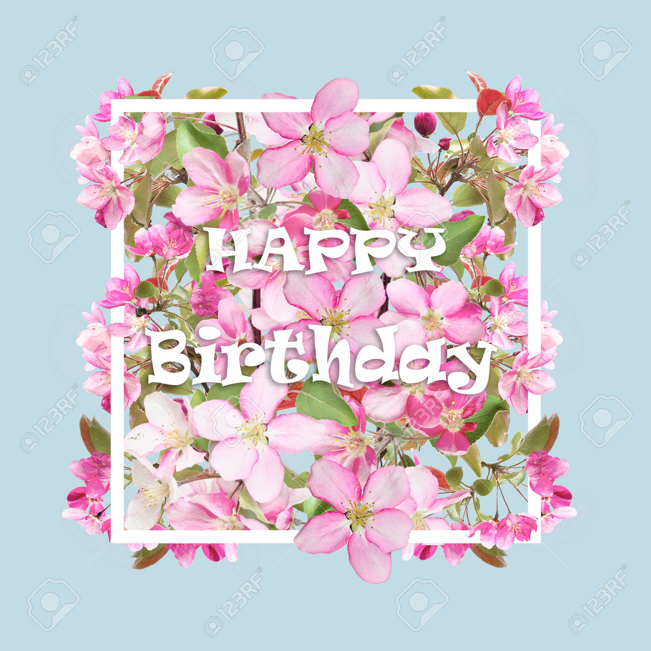 Floral Spring Greeting Card With Cherry Blossom Flowers In The