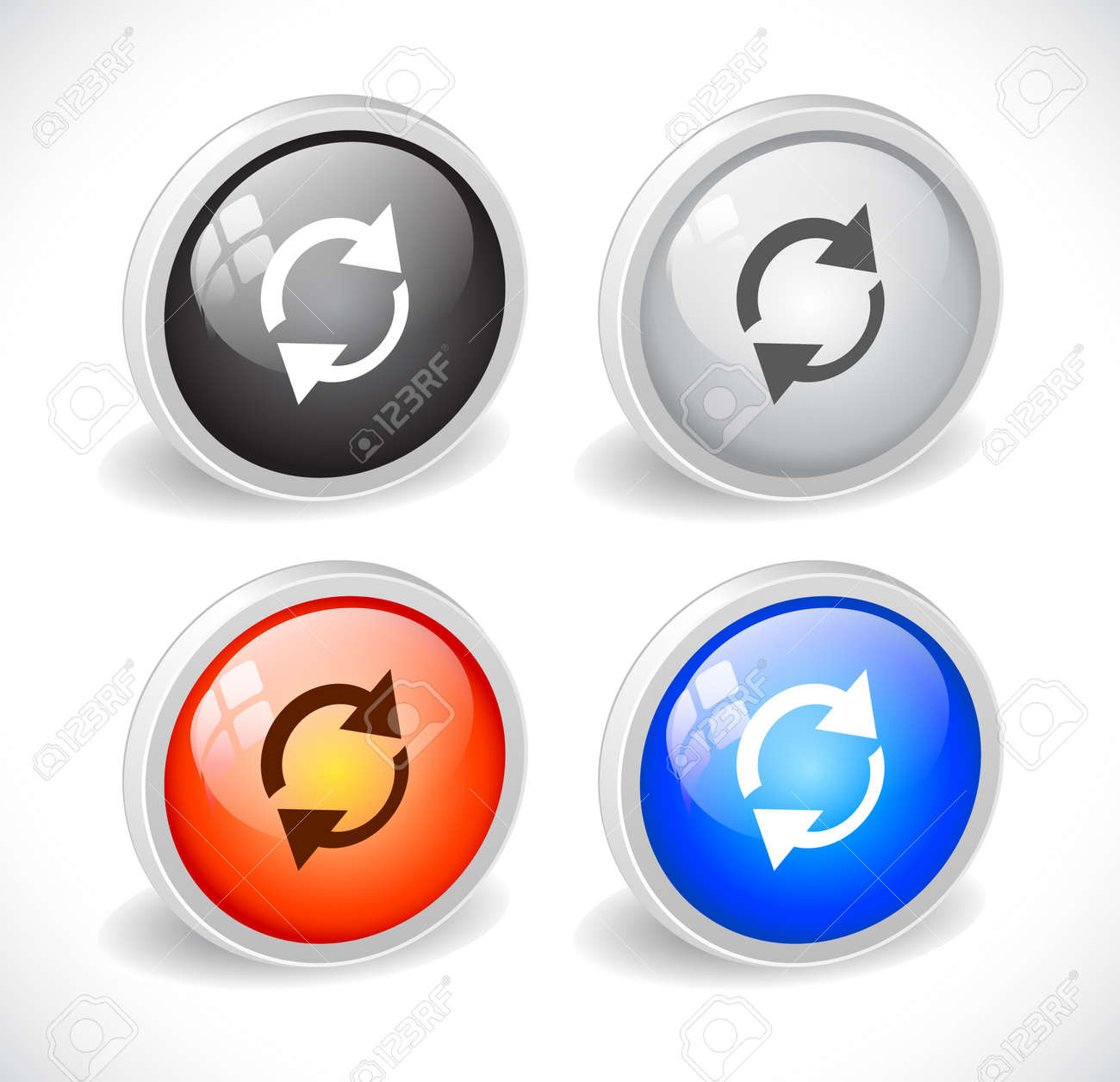 Color 3d buttons for web. Vector Stock Vector - 9115791