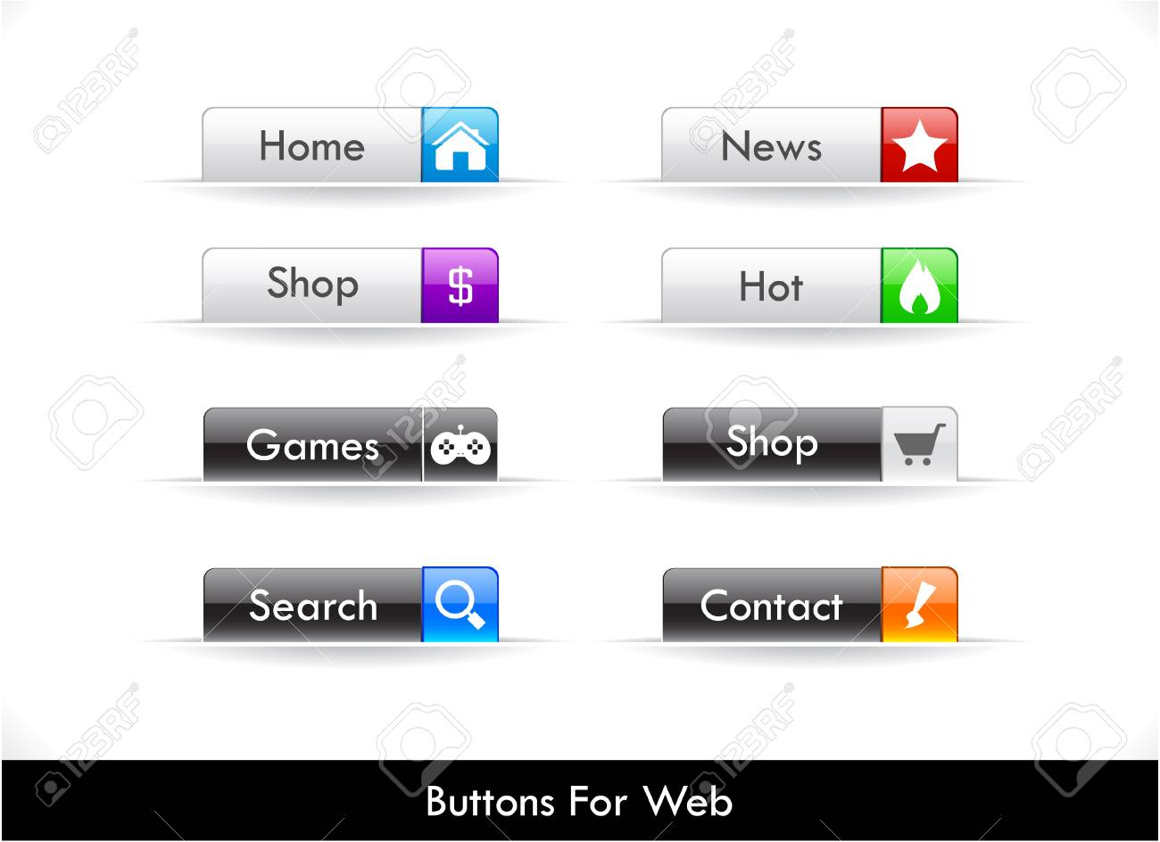 Set of buttons for website Stock Vector - 9354406