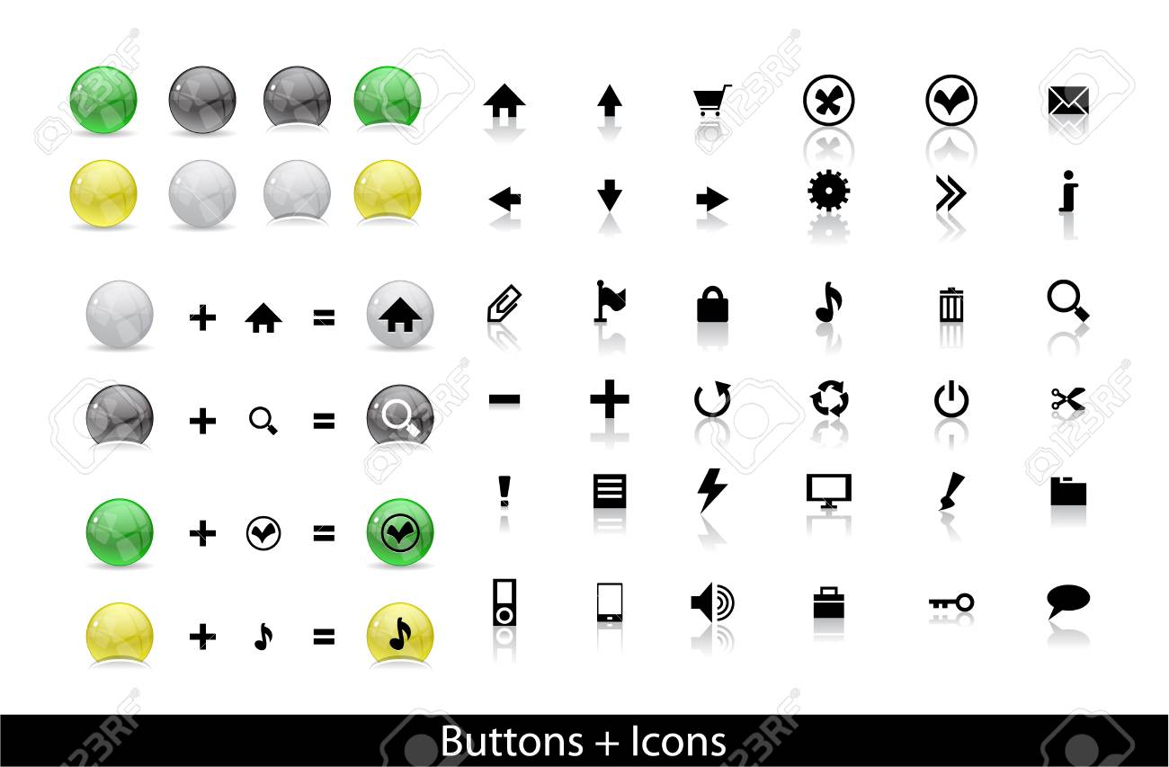 Set of icons and buttons for web. Vector illustration. Stock Vector - 9504416