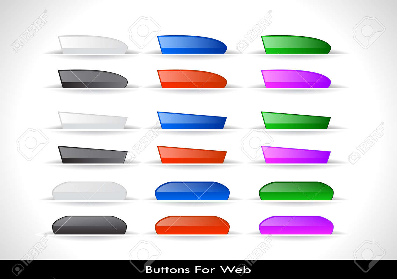 Set of color plastic buttons for web. Vector illustration. Stock Vector - 9504414