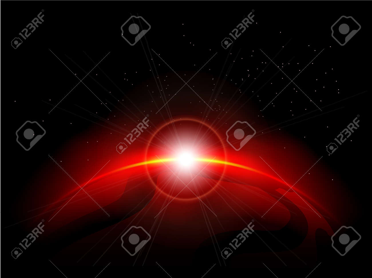 Red panet in the depths of space. Eps10 file Stock Vector - 9715977