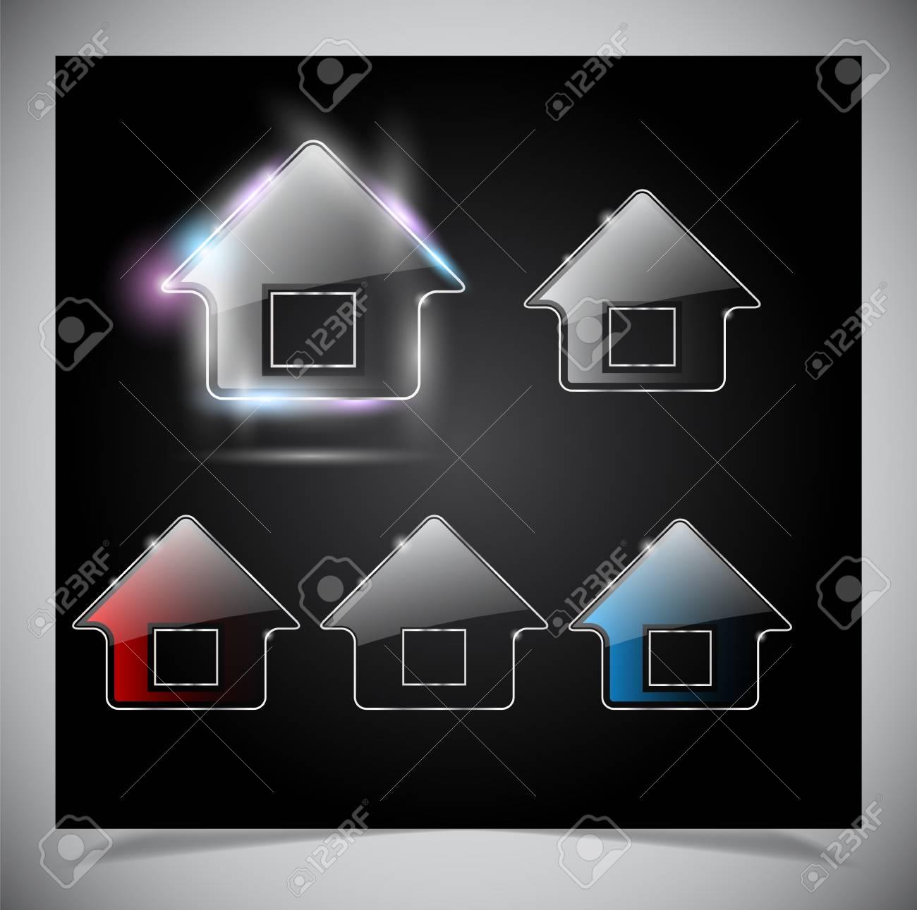 Glass shiny house icon Stock Vector - 15315272