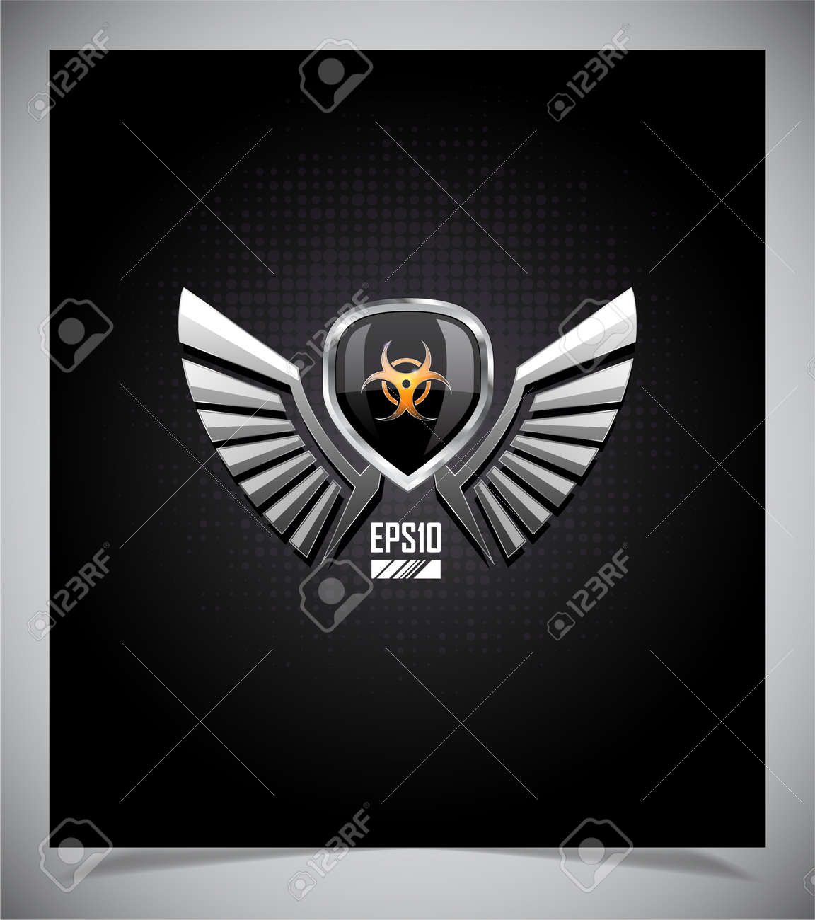 Shield With Skull And Wings On A Dark Background Royalty Free