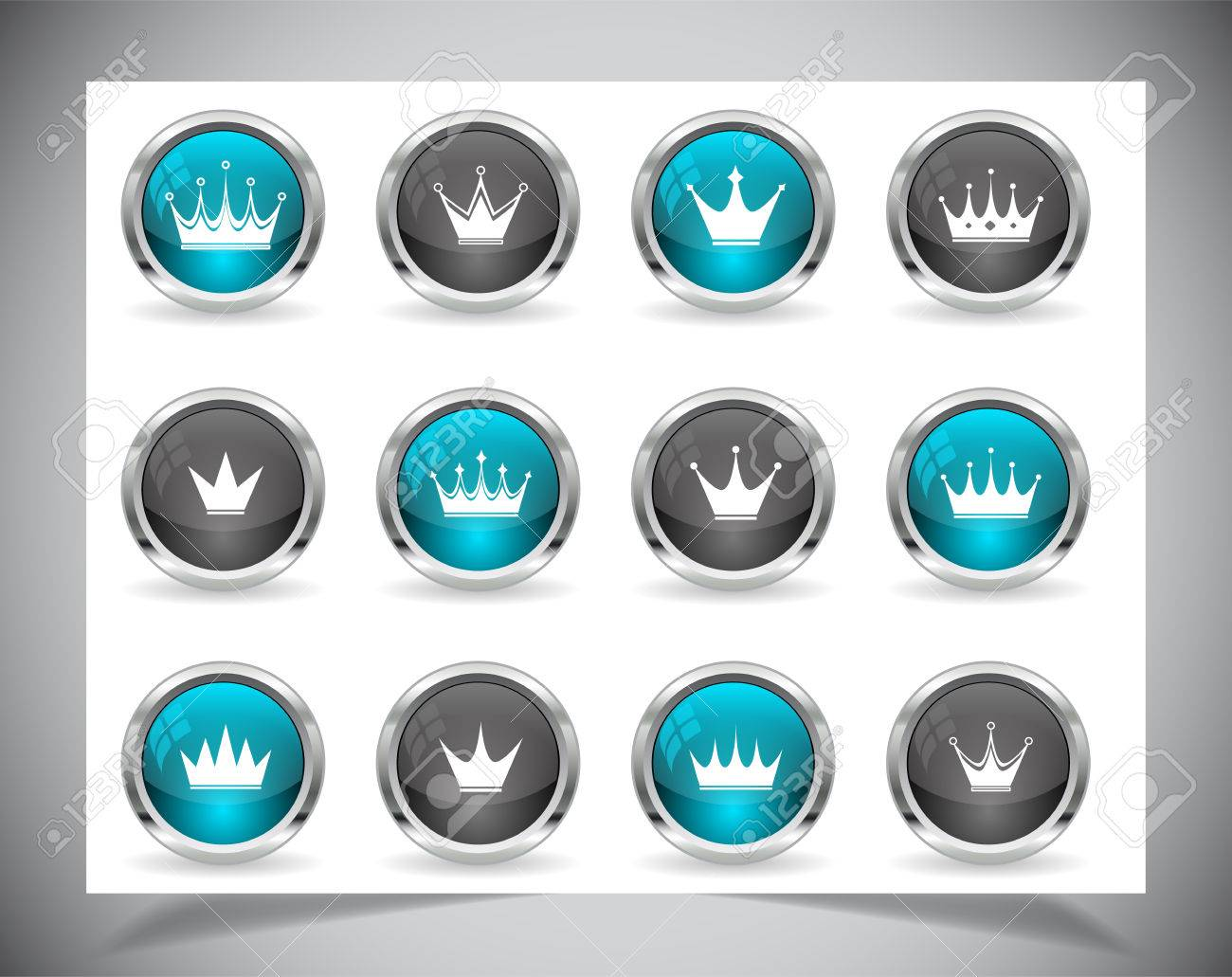 Cool color shiny metal web buttons. Stock Vector - 23522622