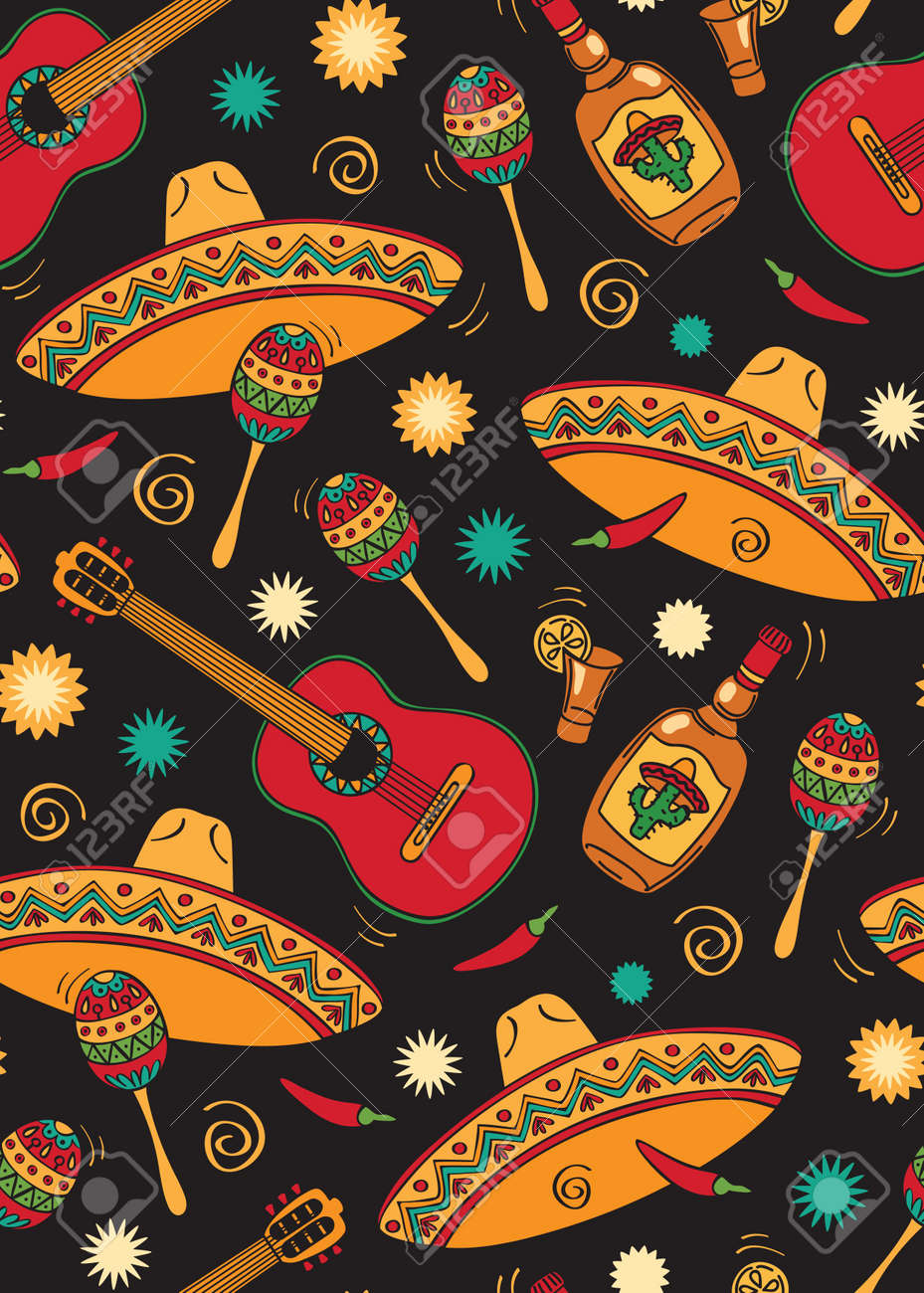 Seamless With Mexican Festival Stock Vector