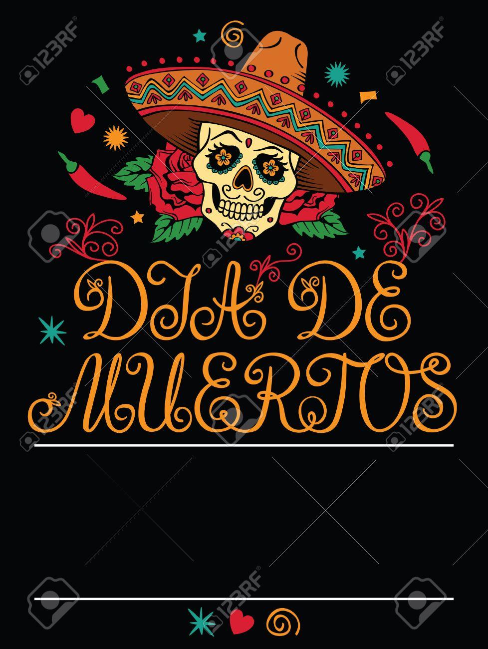 Rahmen Mit Mexikanischen Zucker Schädel Lizenzfrei Nutzbare ...