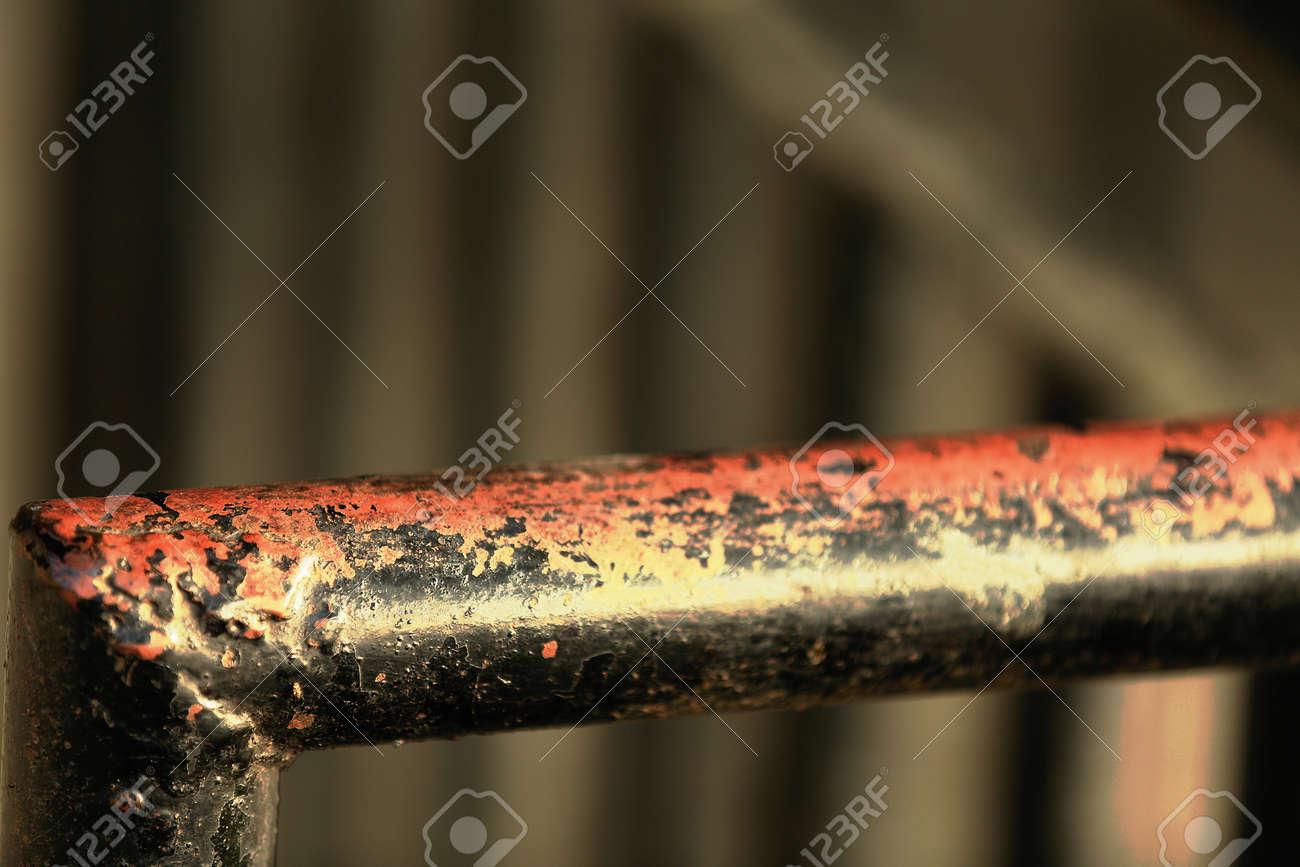Detail D Une Peinture Noire Fanee Rampe En Fer Sur Certains Vol D Un Escalier Menant T La Rue Centrale De Bandipur Ville District Tanahu Gandaki