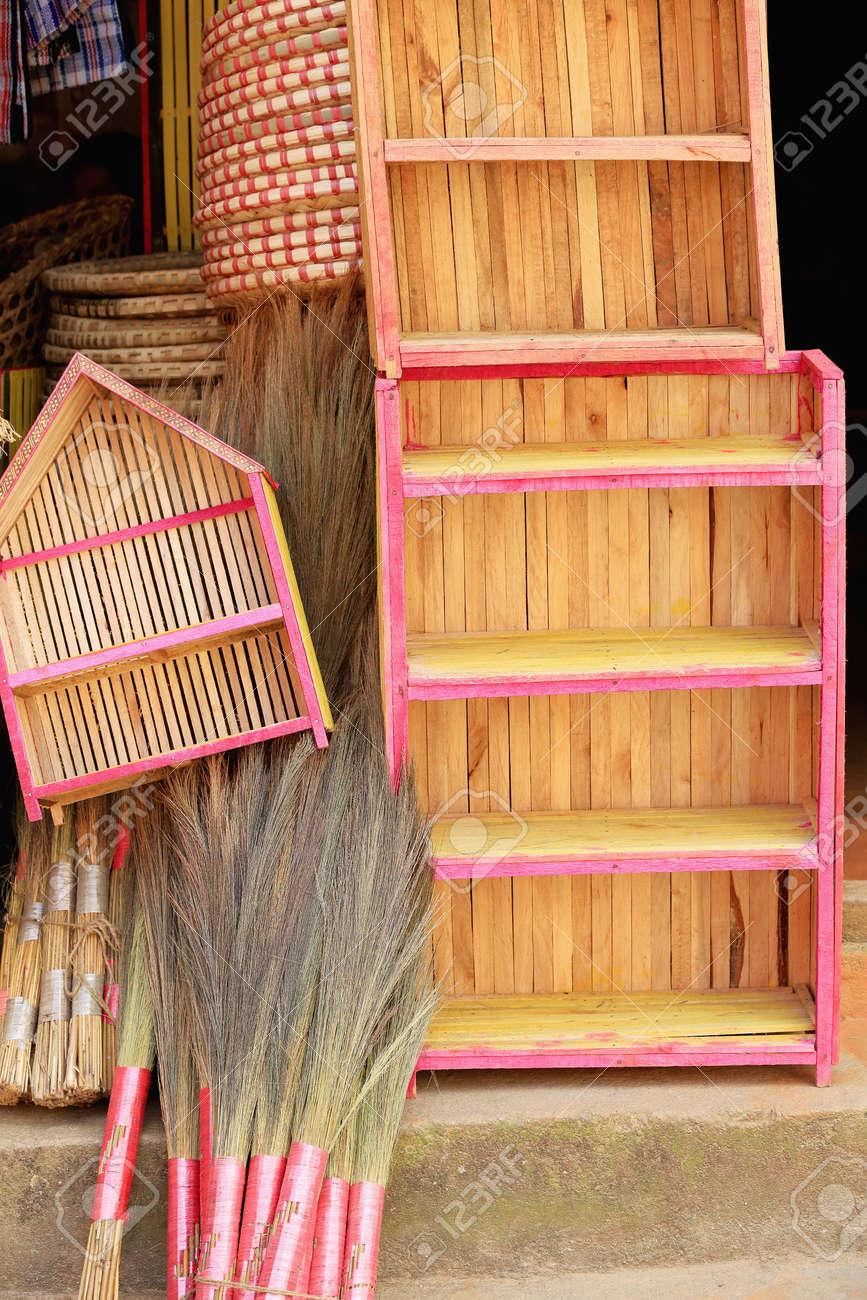 Traditional Hand Made Wooden Cupboards Wicker Trays Brooms On