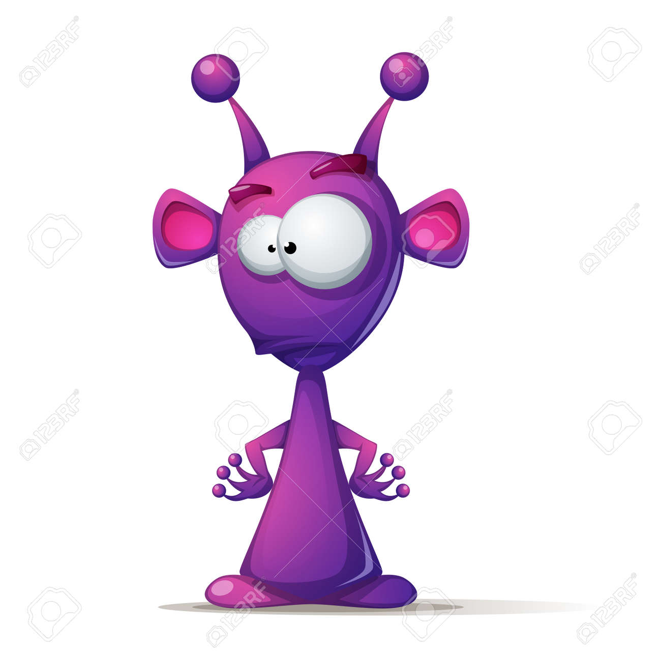 Funny, cute alien with big eye and ear - 96298359