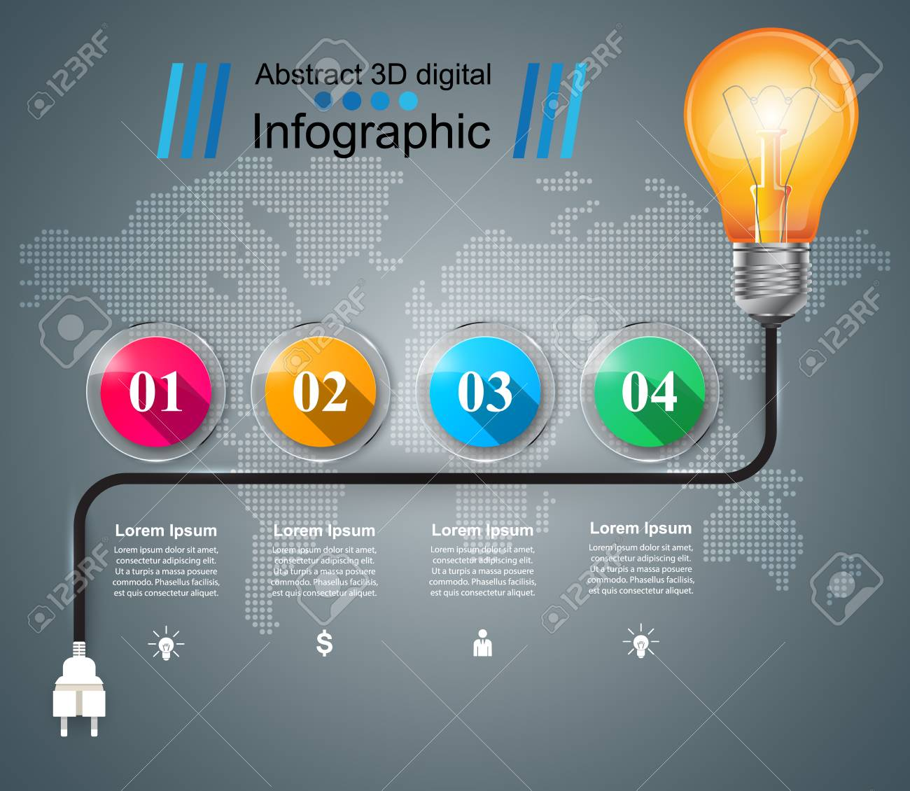 infographic design template and marketing icons bulb icon light