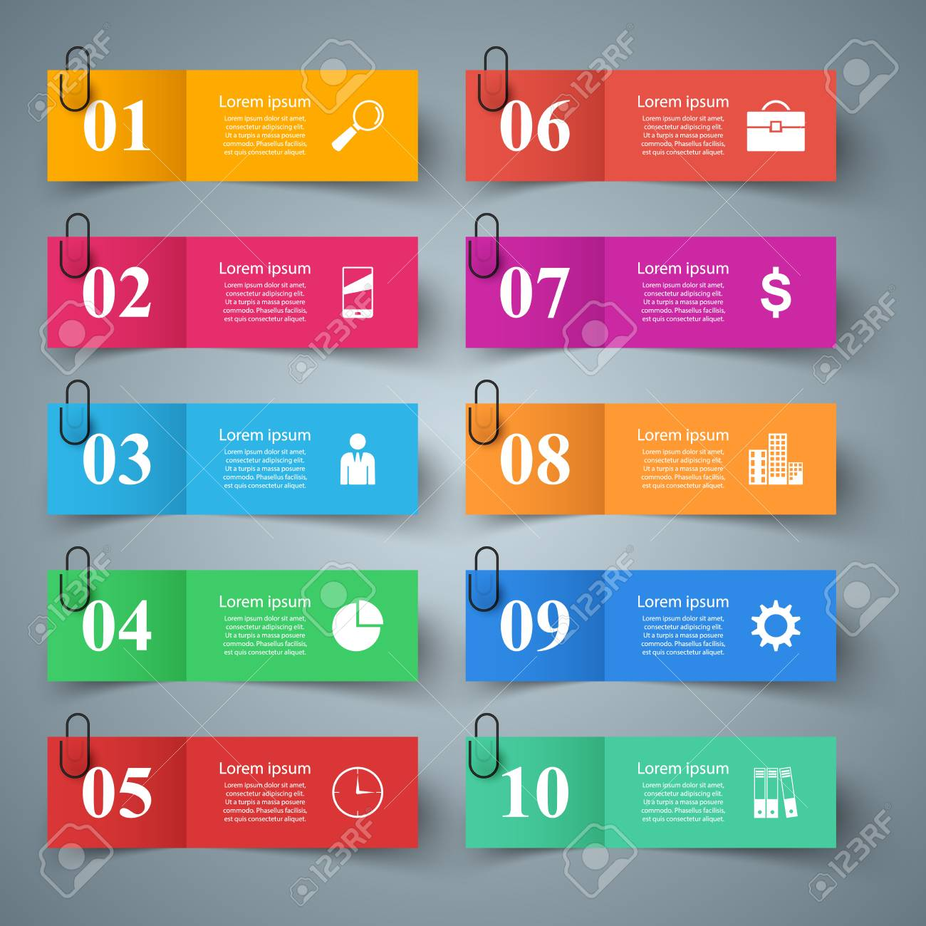 Business papr infographic. Ten items. Vector eps 10 - 126762034