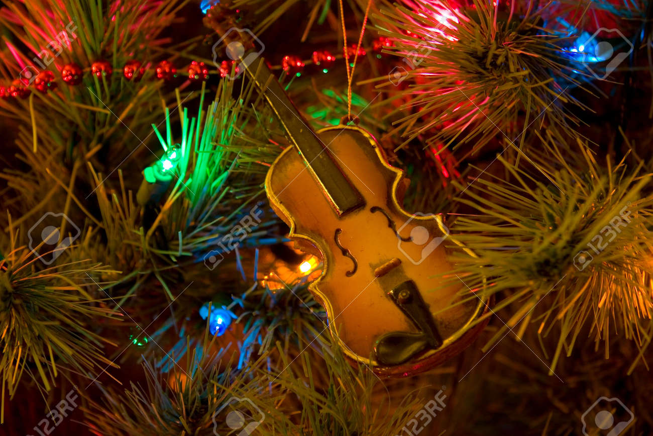 Christmas Tree With Violin Ornament Stock Photo, Picture And Royalty ...
