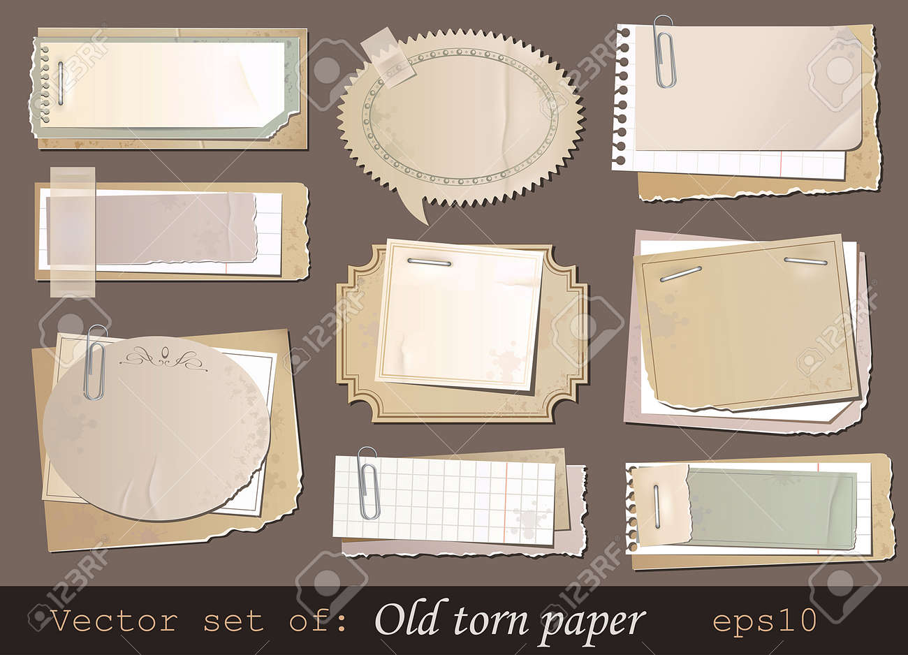 Vector set of old torn paper Stock Vector - 11557321