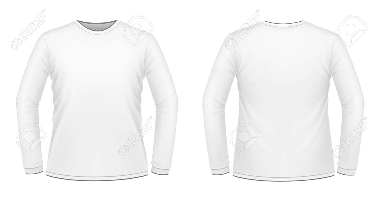 Vector Illustration Of White Long-sleeved T-shirt Royalty Free ...