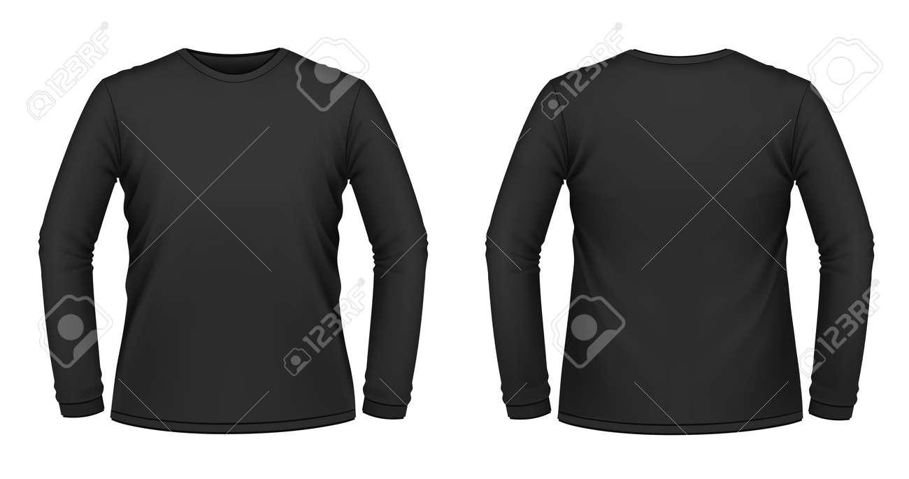 Black t shirt vector photoshop - Vector Illustration Of Black Long Sleeved T Shirt Stock Vector 11557363