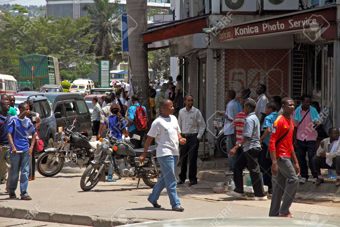 A street corner in Mwanza, Tanzania bustles with daily activity Stock Photo - 18145377