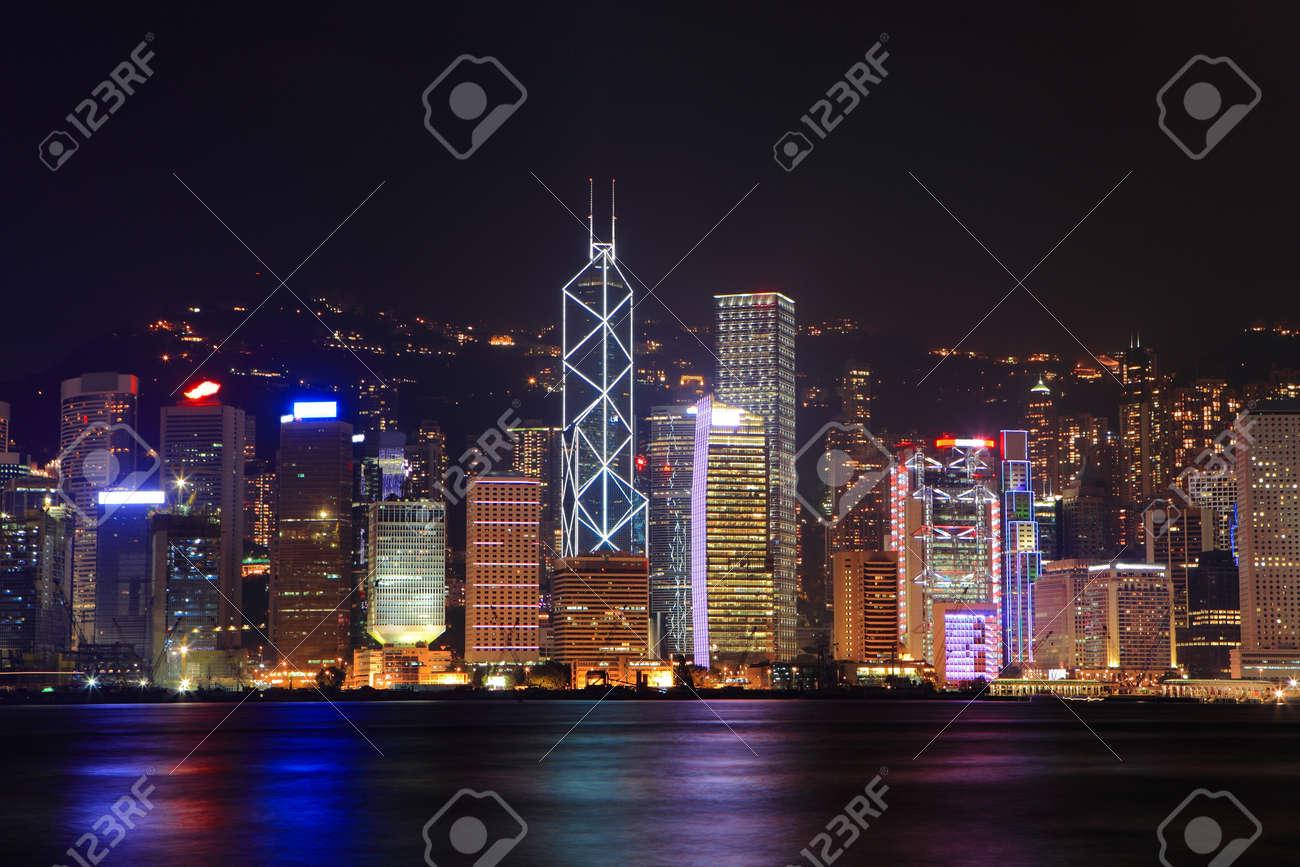 Hong Kong skyline at night Stock Photo - 10965232
