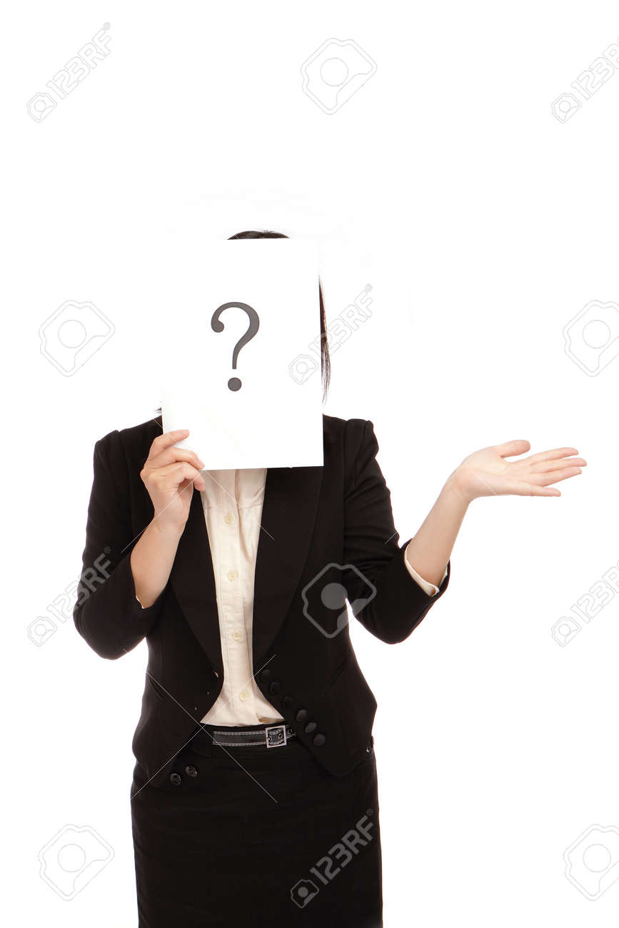 Business woman (asian) have a question mark Stock Photo - 11002519