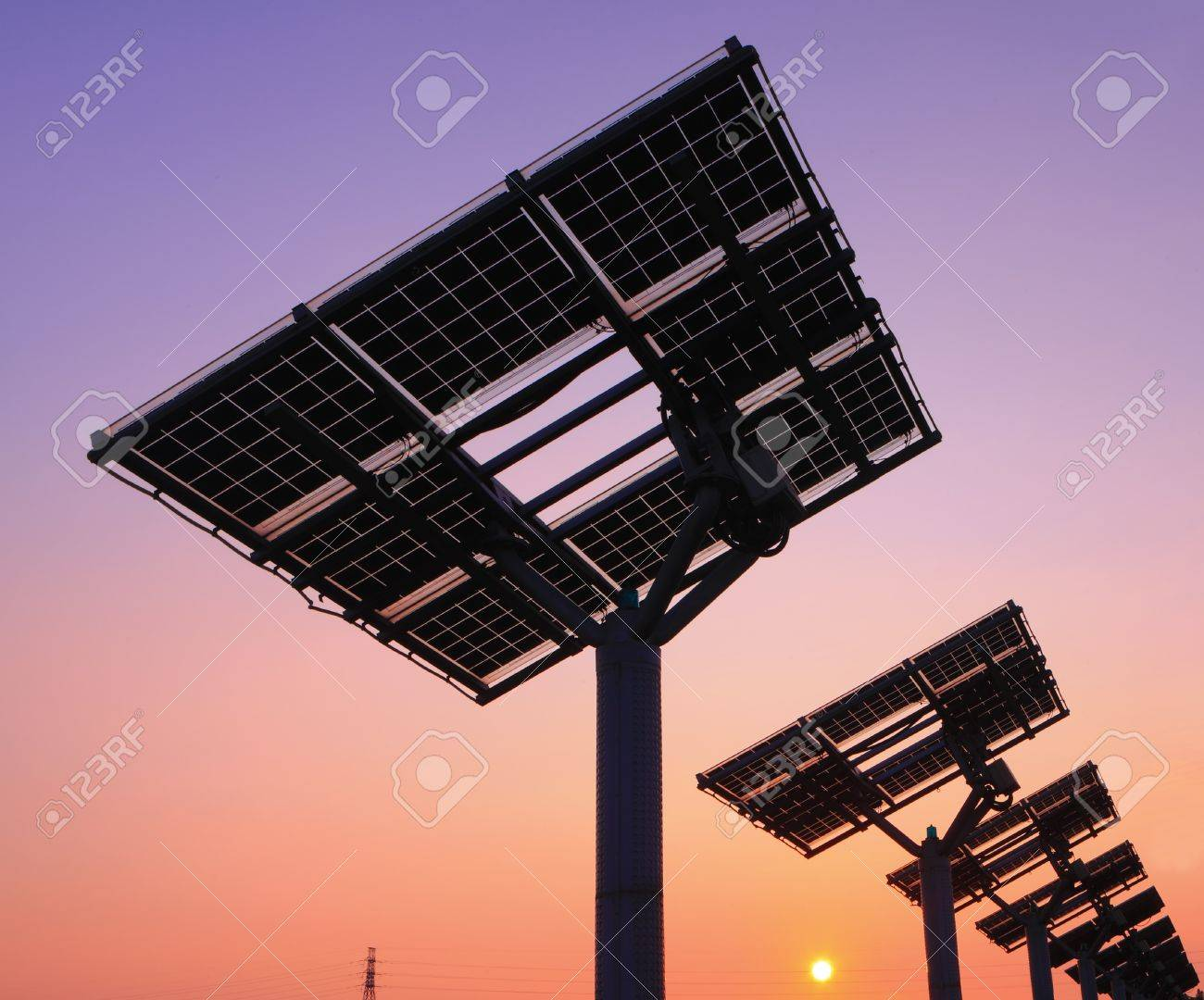 silhouette of solar panel with beautiful sunset Stock Photo - 10996133